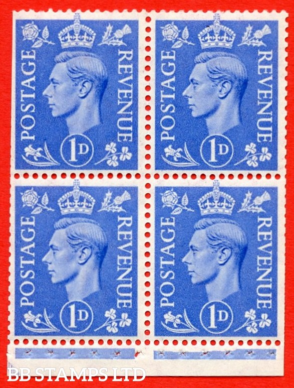 """SG. 504g. QB16a. 1d ultramarine. A fine UNMOUNTED MINT complete booklet pane of 4. Perf type """" I """". Trimmed Perfs."""