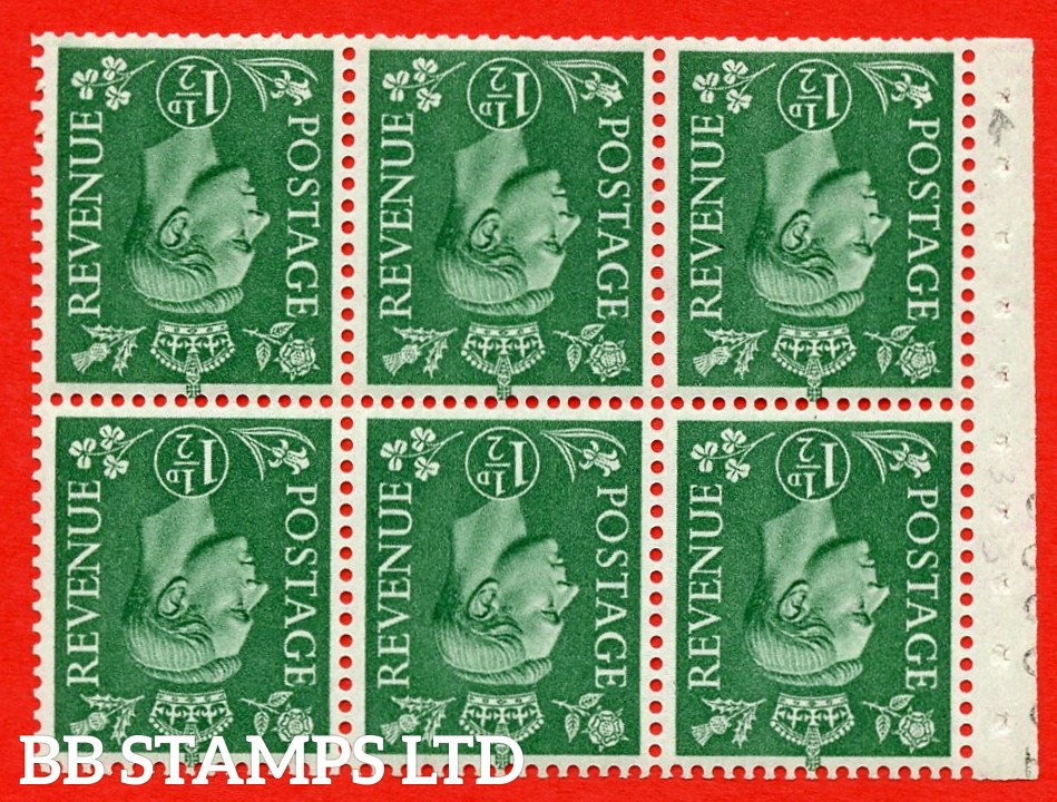 """SG. 505bw. QB26a. 1½d pale green. A superb UNMOUNTED MINT complete booklet pane. Perf type """" I """". Trimmed Perfs"""