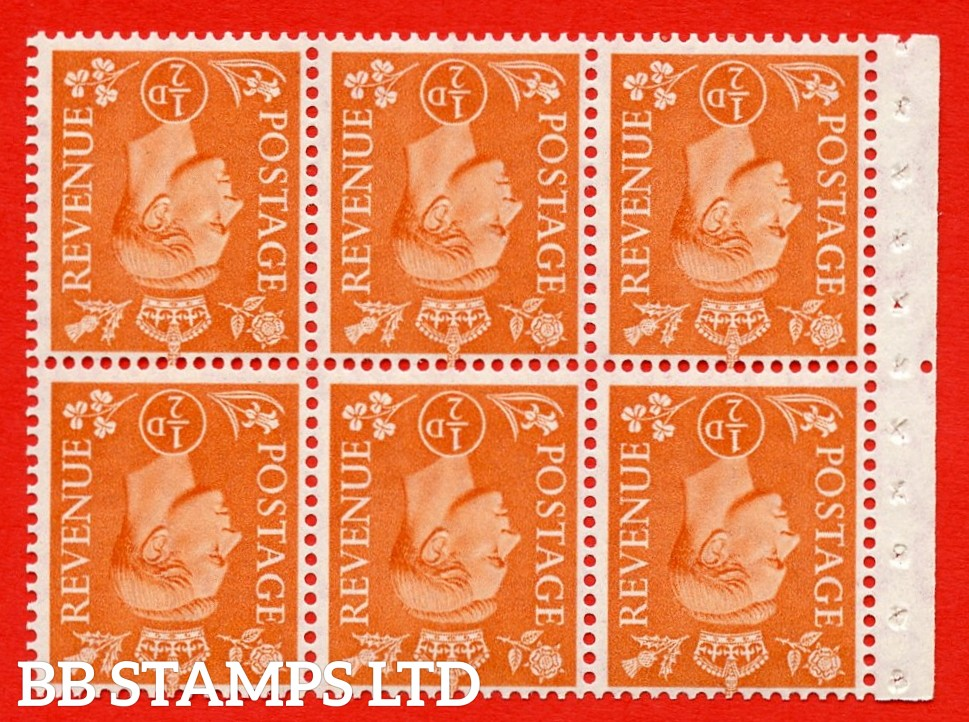 """SG. 503dw. QB7a. ½d orange. A fine UNMOUNTED MINT. INVERTED WATERMARK. complete booklet pane of 6. Perf type """" Iem """". Good Perfs."""