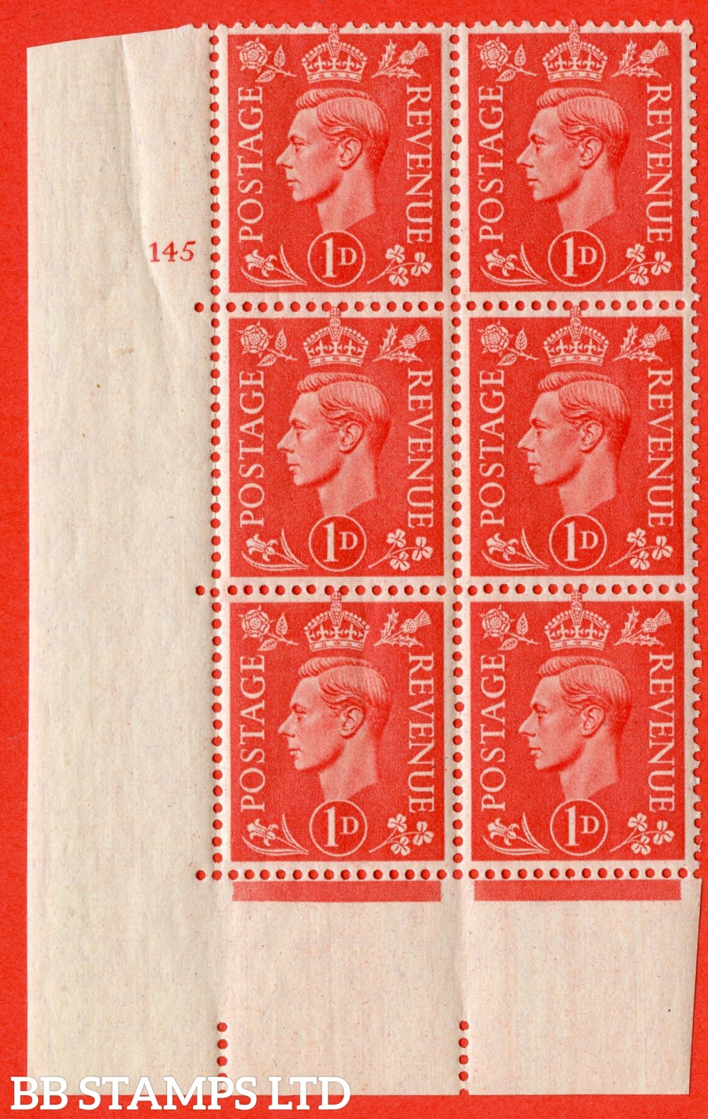 "SG. 486. Q5. 1d Pale scarlet. A superb UNMOUNTED MINT "" No Control  cylinder 145 no dot "" control block of 6 with perf type 5 E/I."