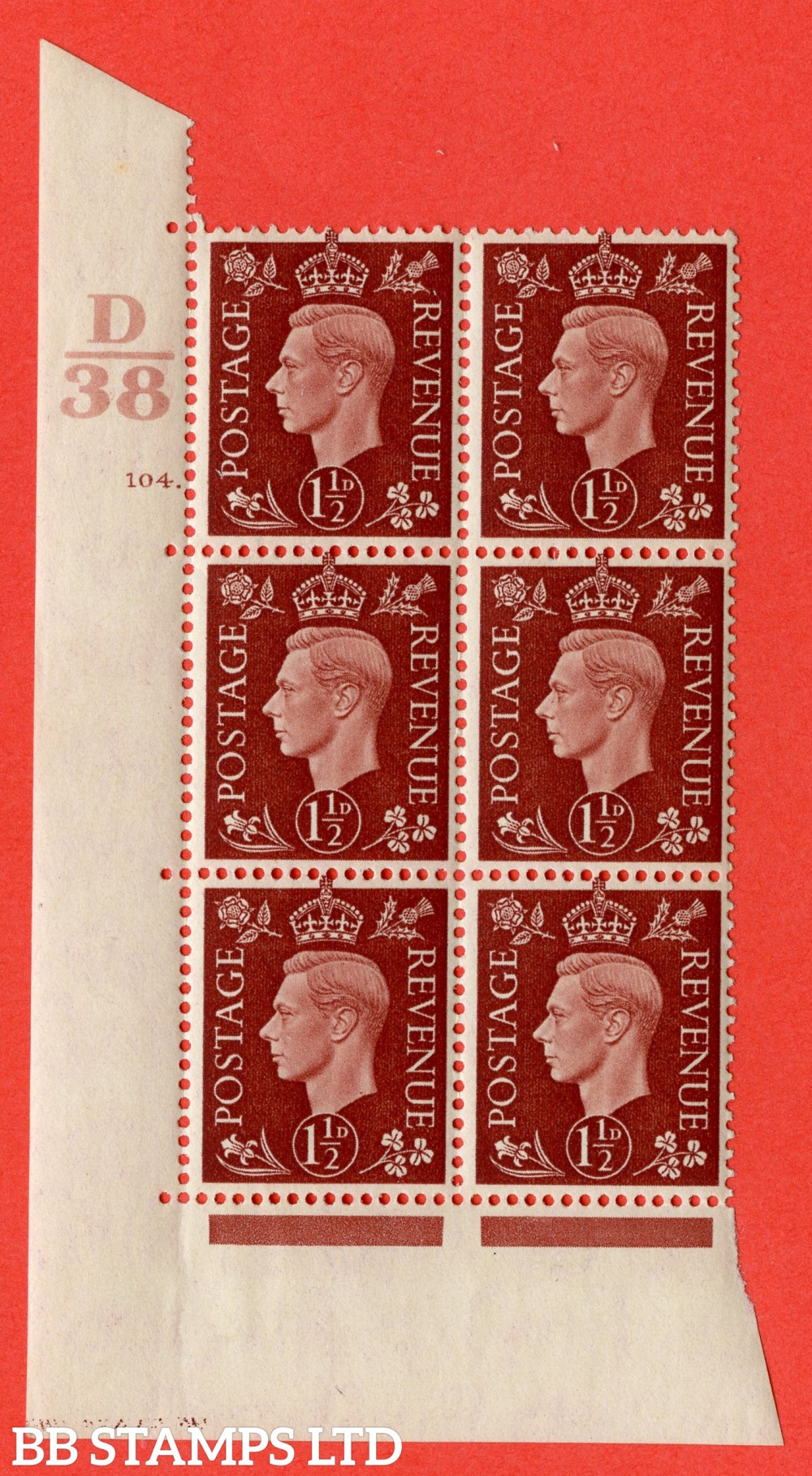 """SG. 464. Q7. 1½d Red-Brown. A superb UNMOUNTED MINT """" Control D38 cylinder 104 dot """" block of 6 with perf type 5 E/I."""