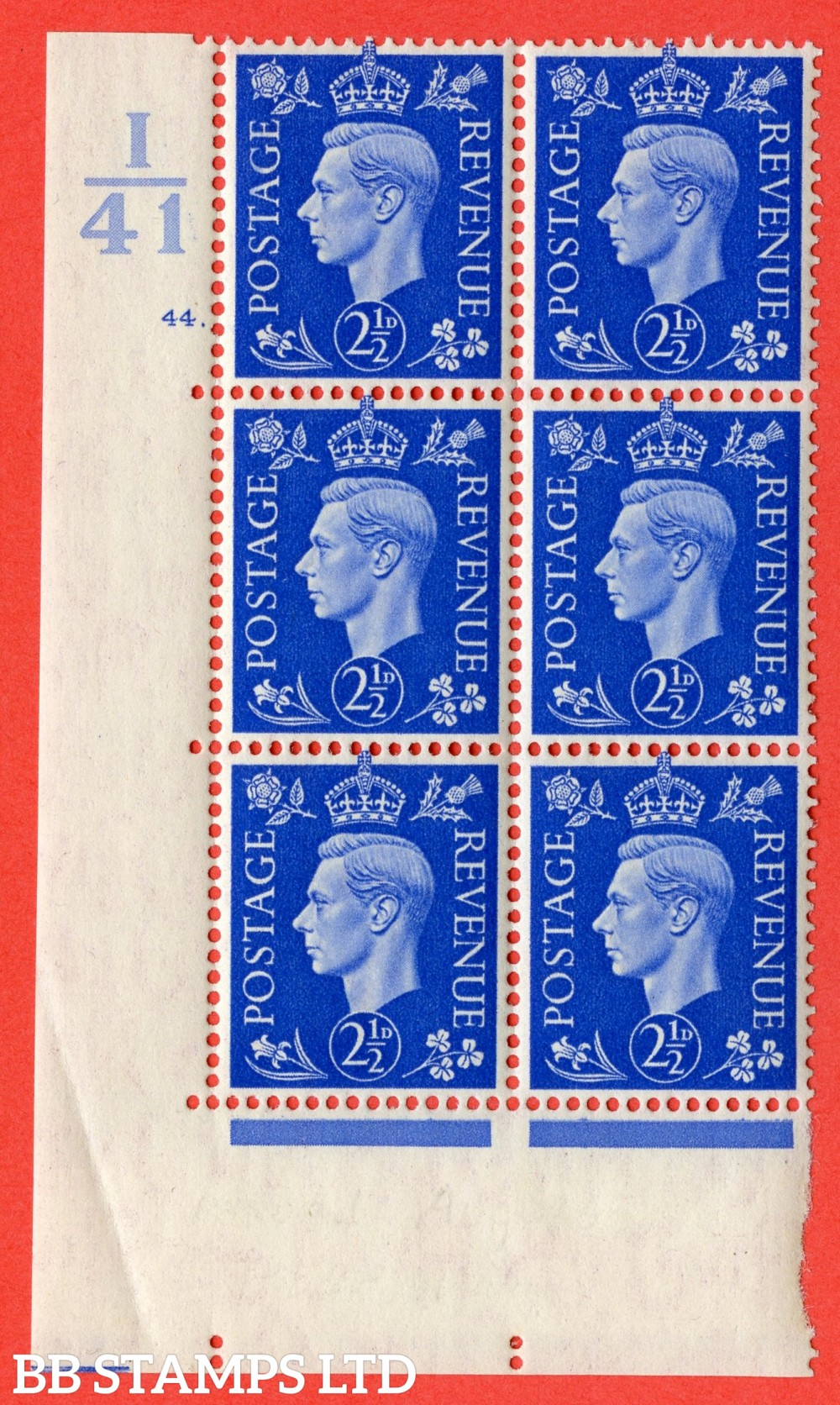 "SG. 466. Q13. 2½d Ultramarine. A fine lightly mounted mint "" Control I41 cylinder 44 dot "" control block of 6 with perf type 5 E/I."