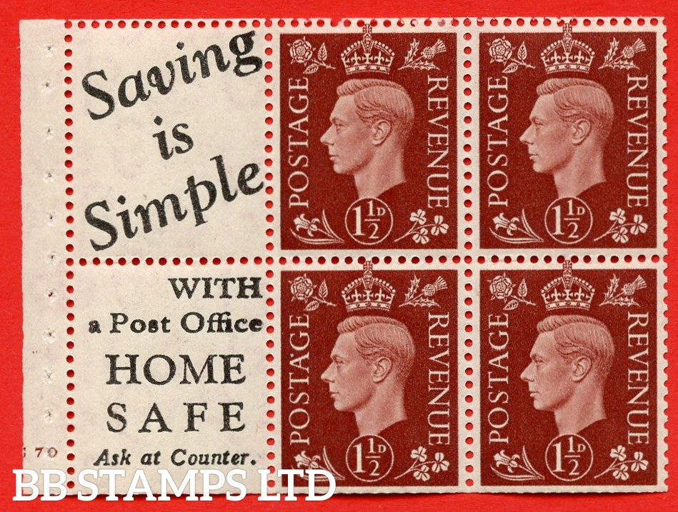 """QB23 Perf Type B3(I) (10) 1½d Red-Brown x 6 Pane, MOUNTED MINT. Cylinder Pane G70 no dot ( SG. 464b ) Perf type B3(I). """" Saving is Simple / (""""is"""" 4.5mm. High) Home Safe """". Trimmed Perfs."""