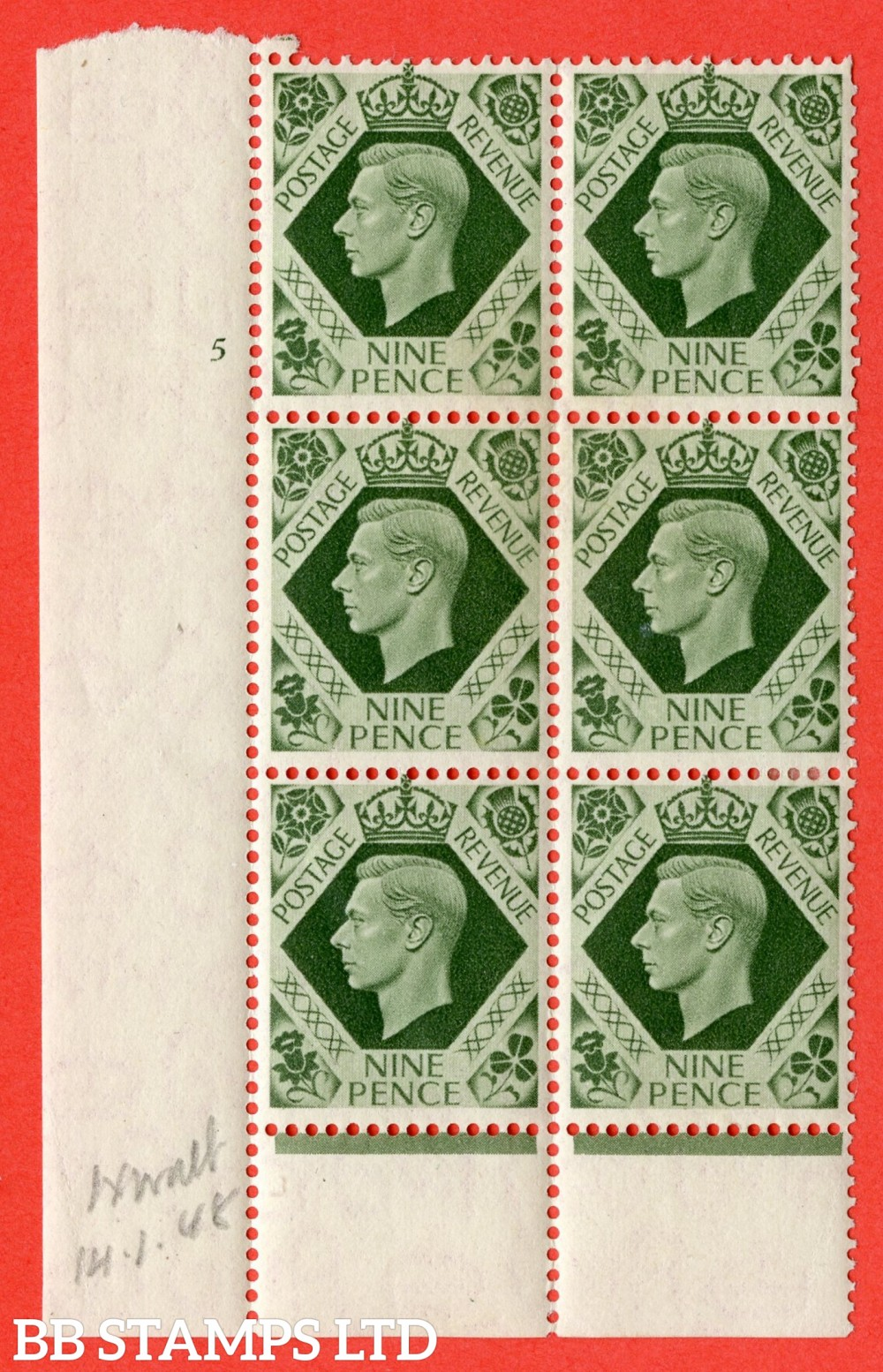 "SG. 473. Q25. 9d Olive-Green. A superb UNMOUNTED MINT "" No Control cylinder 5 no dot "" control block of 6 with perf type 6 I/P."