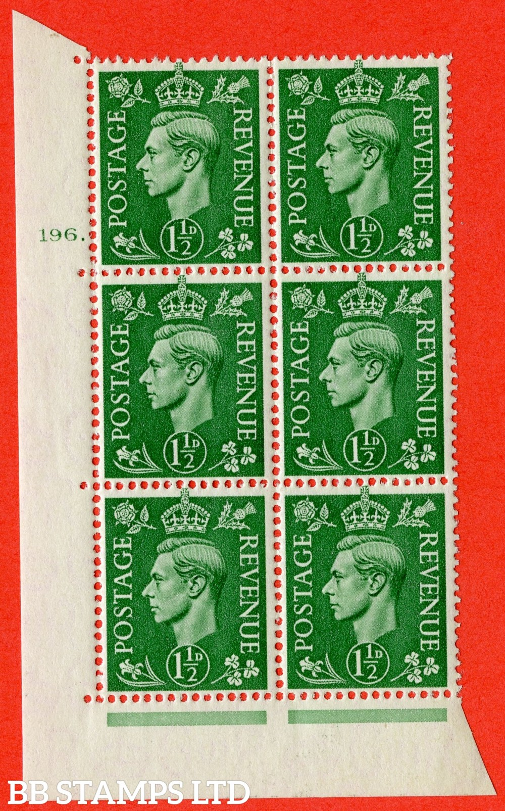 "SG. 505. Q9. 1½d Pale Green. A superb UNMOUNTED MINT "" No Control cylinder 196 dot "" control block of 6 with perf type 5 E/I"