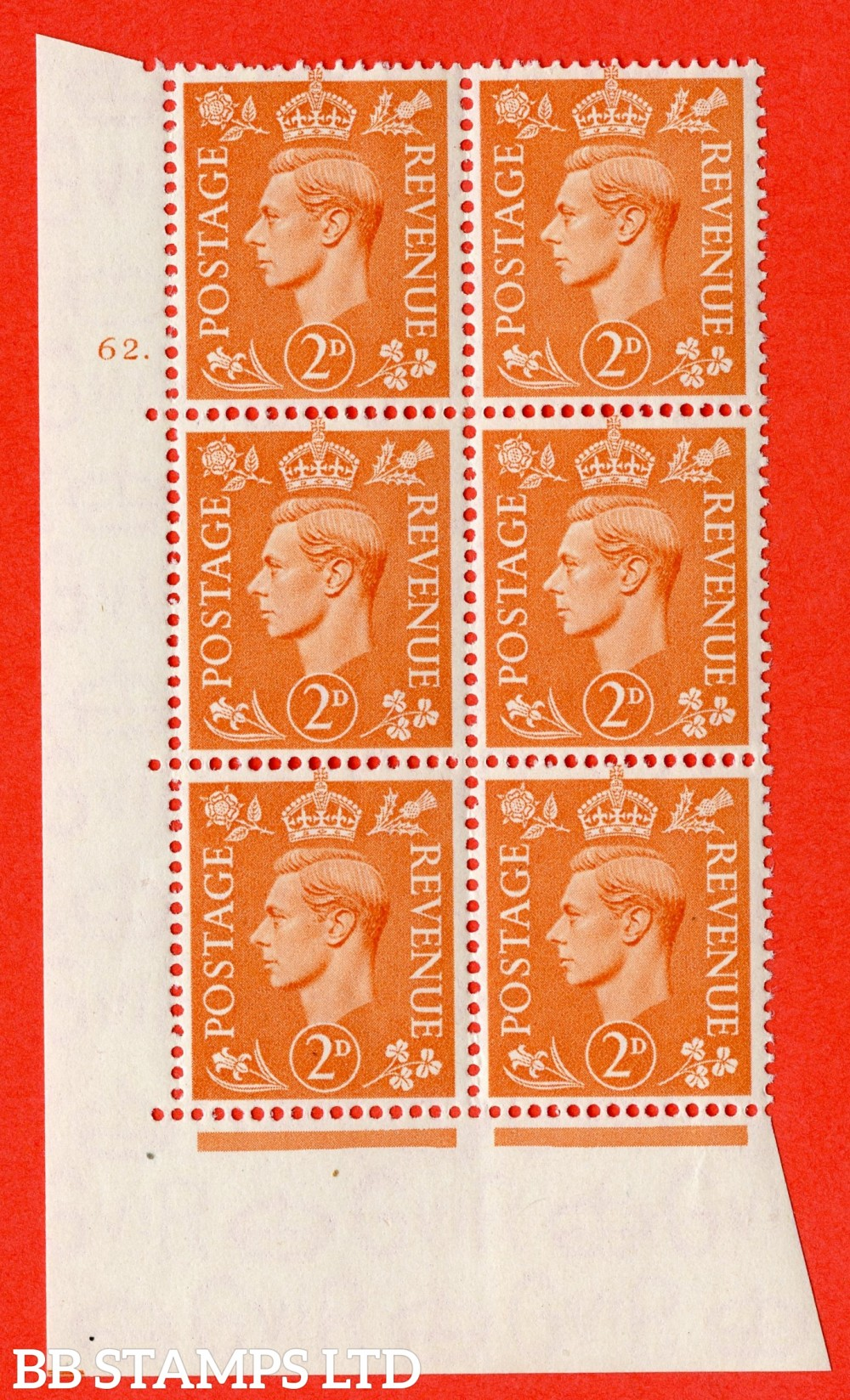 "SG. 488. Q11. 2d Pale Orange. A superb UNMOUNTED MINT "" No Control cylinder 62 dot "" control block of 6 with perf type 5 E/I"