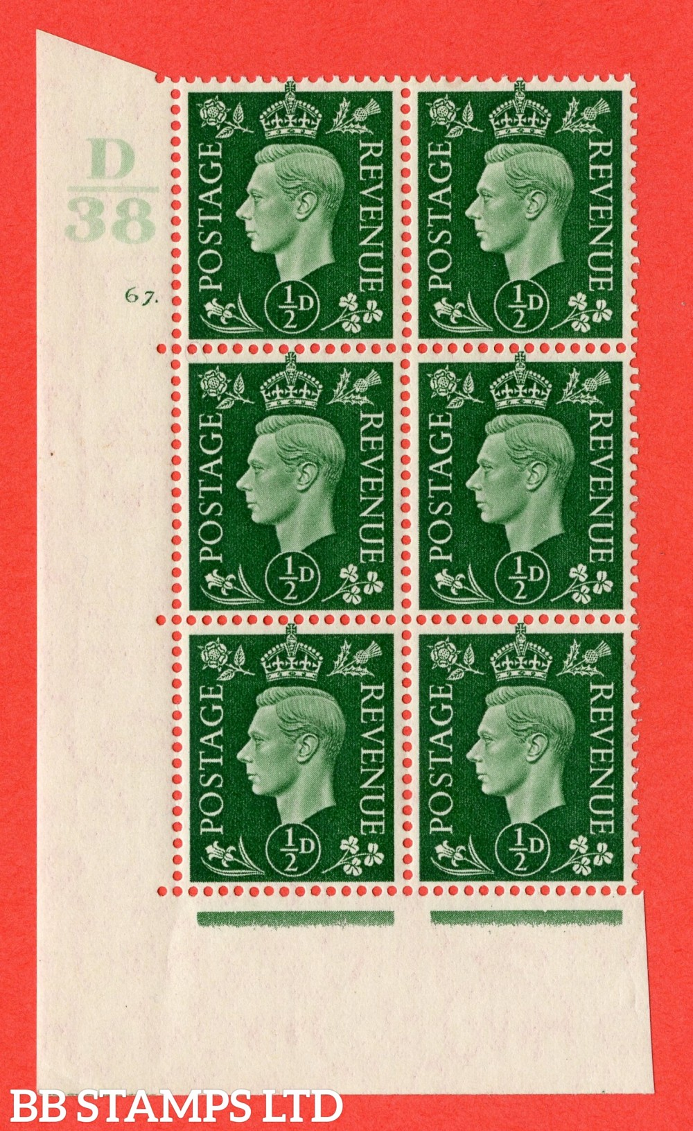 "SG. 462. Q1. ½d Green. A superb UNMOUNTED MINT "" Control C38 cylinder 67 dot "" block of 6 with perf type 5 E/I with marginal rule."