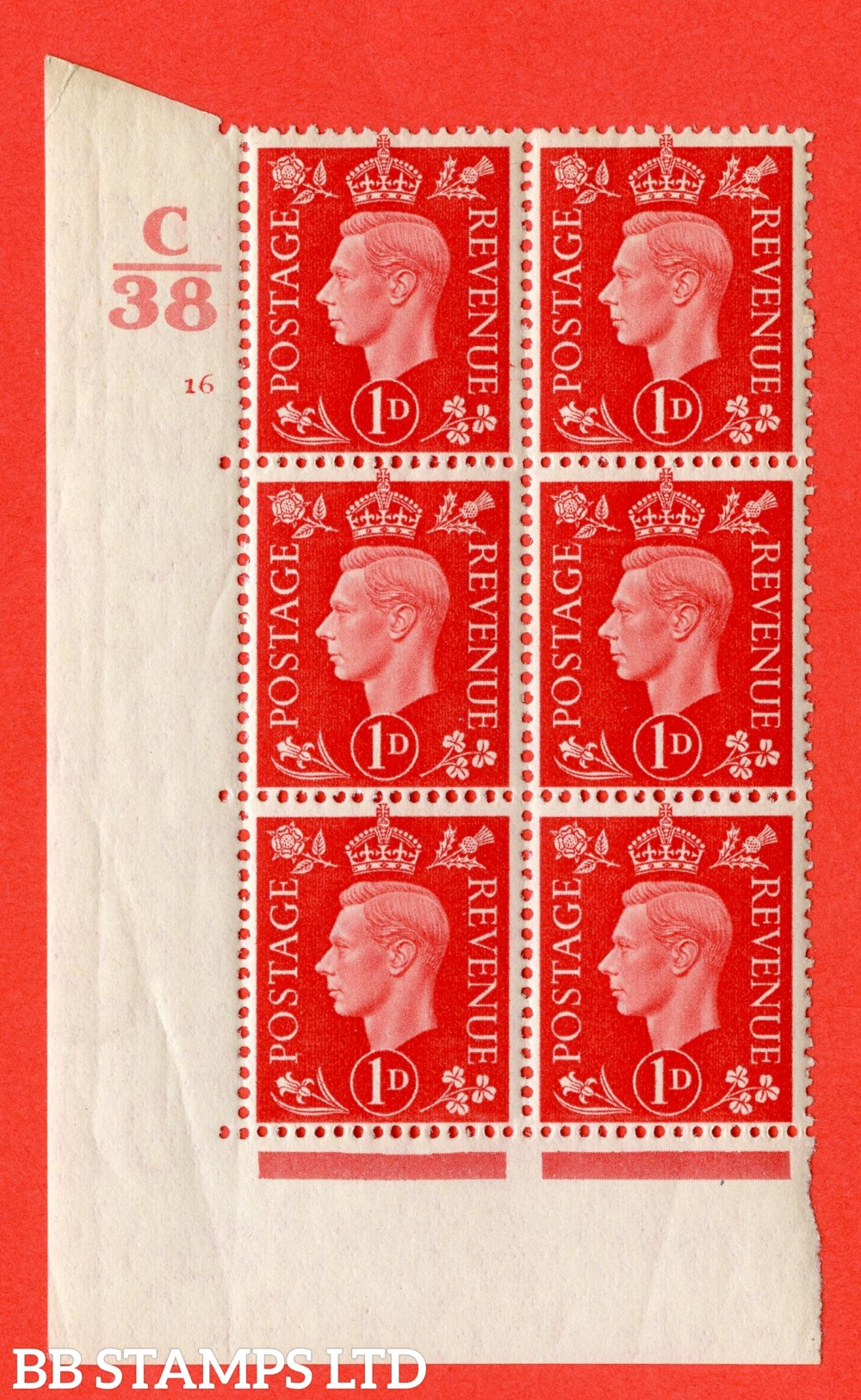 "SG. 463. Q4. 1d Scarlet. A superb UNMOUNTED MINT "" Control C38 cylinder 16 no dot "" block of 6 with perf type 5 E/I with marginal rule."