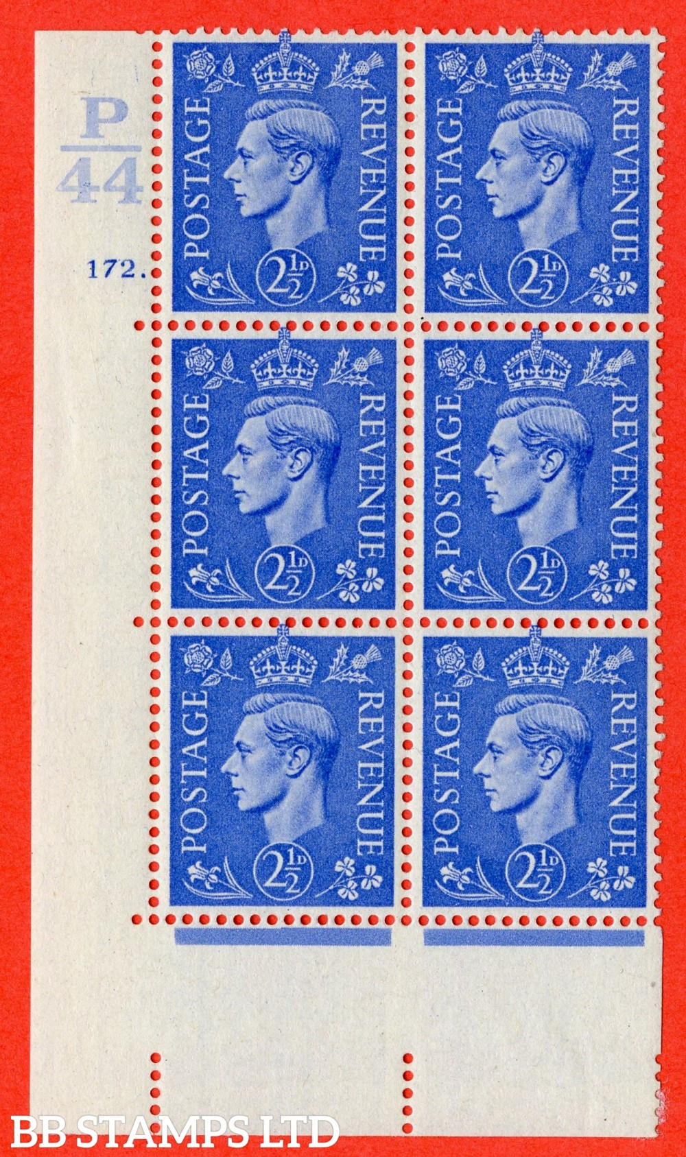"SG. 489. Q14. 2½d Light ultramarine. A fine lightly mounted mint ""  Control P44 cylinder 172 dot "" control block of 6 with perf type 5 E/I. with listed variety "" White dot by clover leaf "" R18/2."
