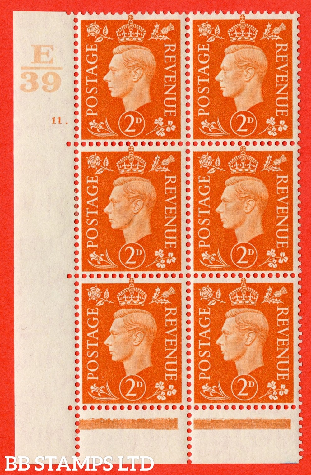 "SG. 465. Q10. 2d Orange. A fine lightly mounted mint "" Control E39 cylinder 11 dot "" control block of 6 with perf type 6B E/P."