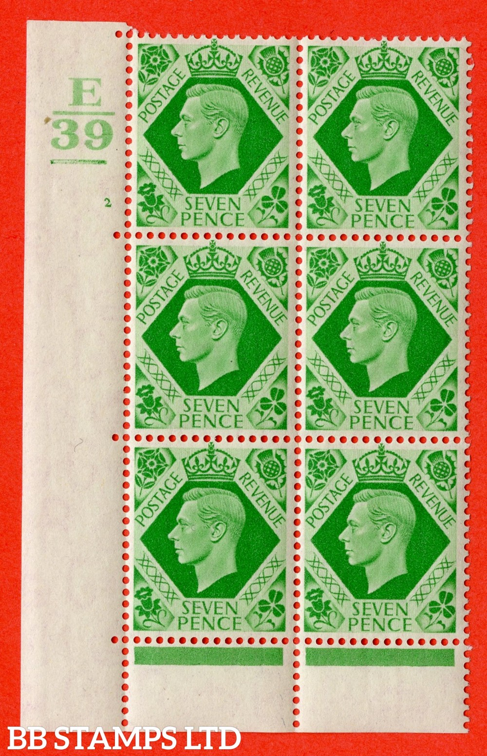 """SG. 471. Q23. 7d Emerald-Green. A superb UNMOUNTED MINT """" Control E39. 1 Bar. Cylinder 2 no dot """" control block of 6 with perf type 6B E/P"""
