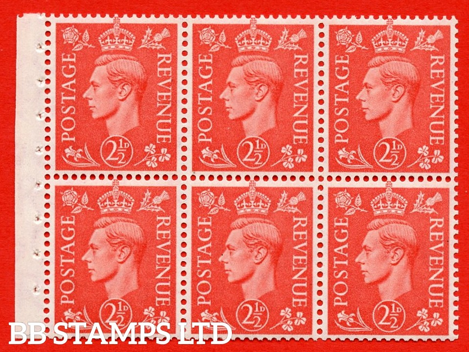 """SG. 507 c. QB34. 2½d pale scarlet. A fine UNMOUNTED MINT Booklet pane of 6. Perf type """" Iet """". Good Perfs."""