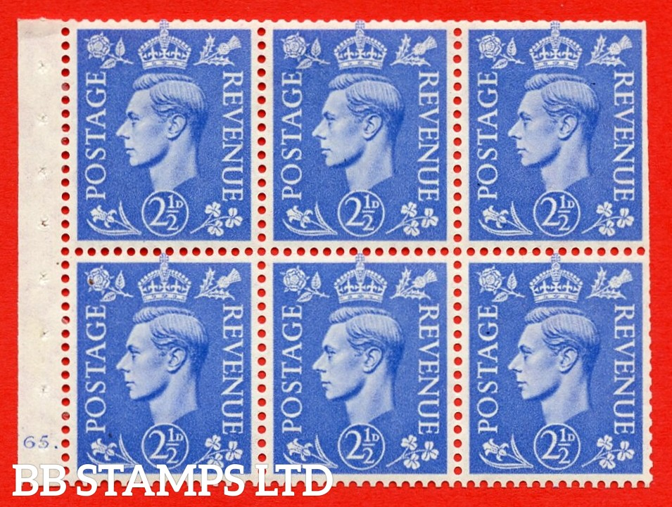 """SG. 489f. QB33. 2½d blue. A fine MOUNTED MINT complete Cylinder pane of 6 J65 dot. Perf type """"B6(IE)"""". Trimmed Perfs."""