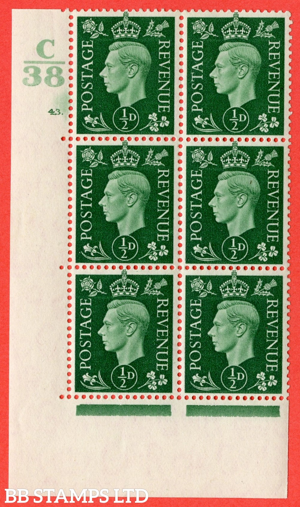 "SG. 462. Q1. ½d Green. A superb UNMOUNTED MINT "" Control C38 cylinder 43 (ii) dot "" block of 6 with perf type 5 E/I."