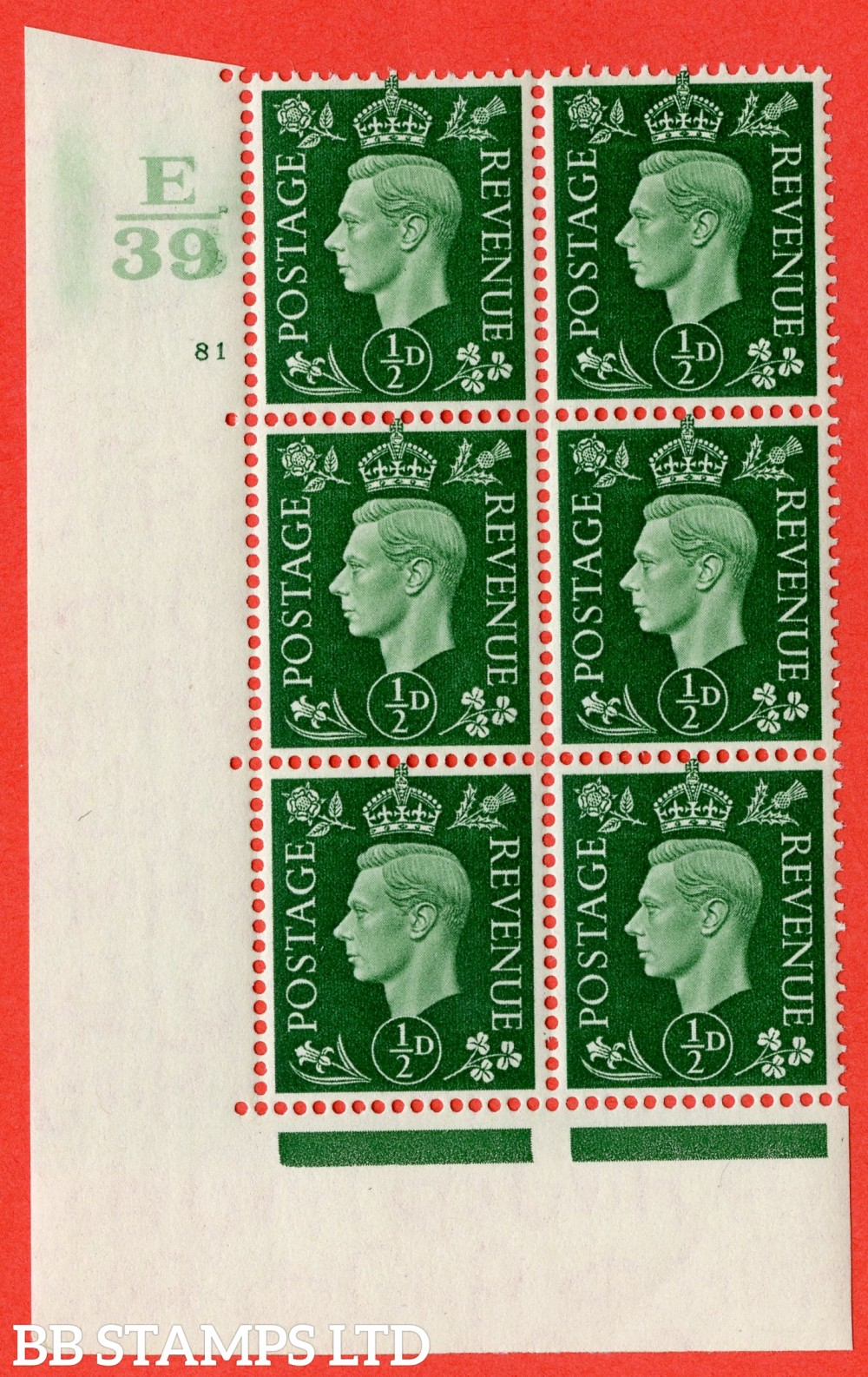 "SG. 462. Q1. ½d Green. A superb UNMOUNTED MINT "" Control E39 cylinder 81 no dot "" block of 6 with perf type 5 E/I."