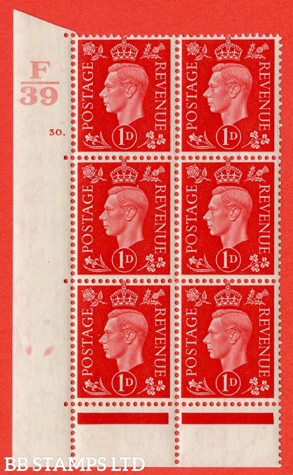 "SG. 463. Q4. 1d Scarlet. A superb UNMOUNTED MINT "" Control F39 cylinder 30 dot "" block of 6 with perf type 6B E/P."