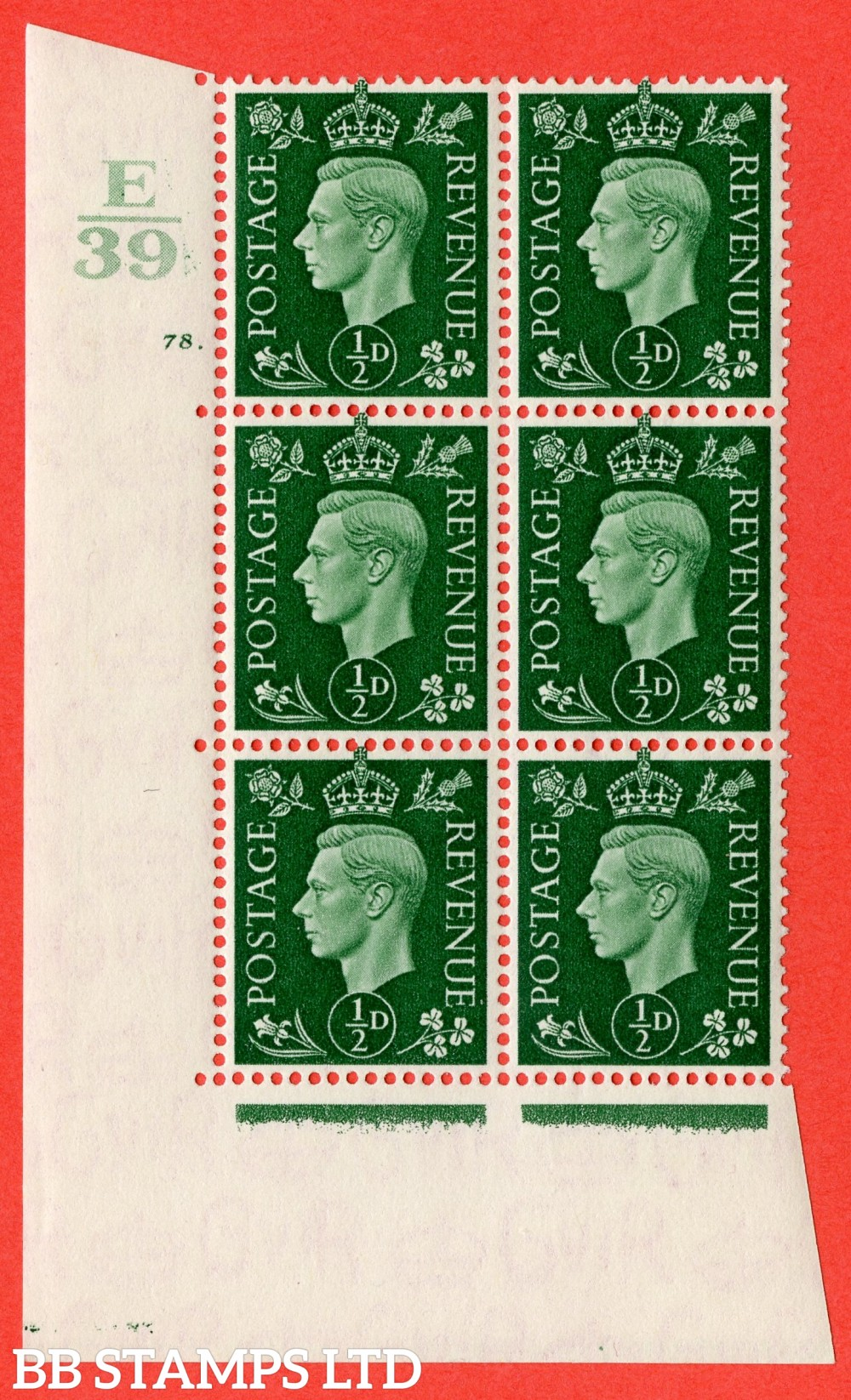 "SG. 462. Q1. ½d Green. A superb UNMOUNTED MINT "" Control E39 cylinder 78 dot "" block of 6 with perf type 5 E/I."