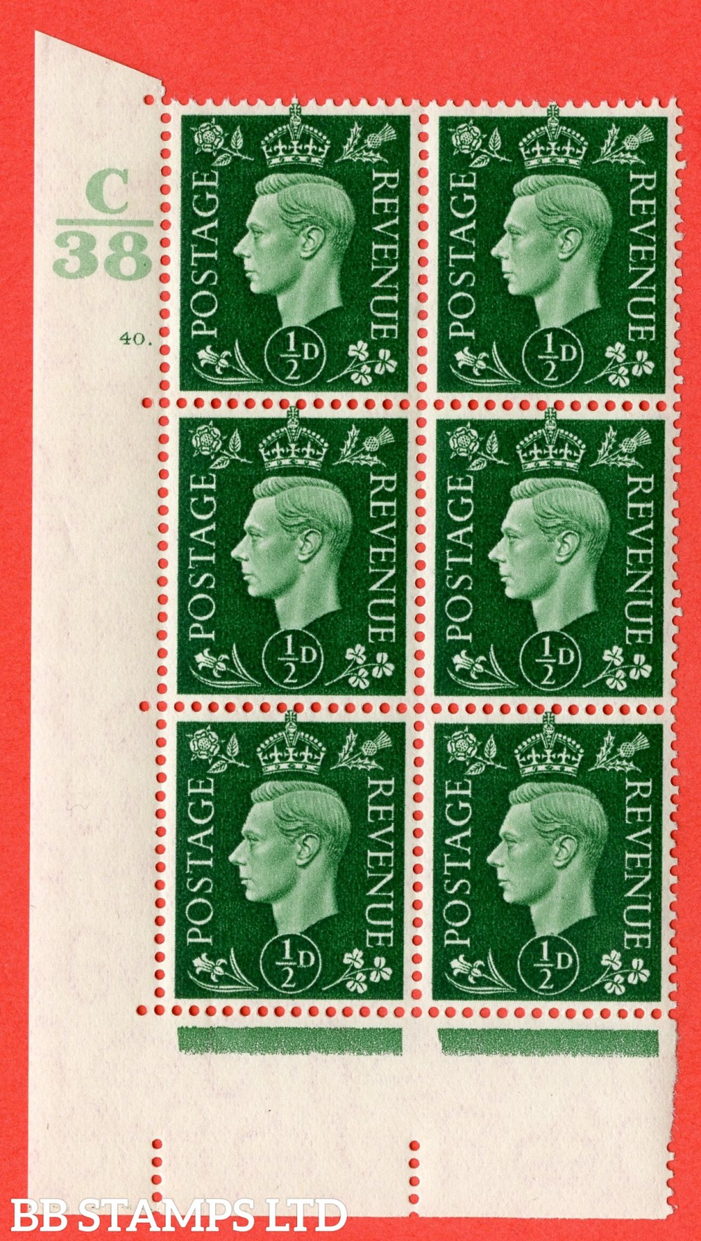 "SG. 462. Q1. ½d Green. A superb UNMOUNTED MINT "" Control C38 cylinder 40 dot "" block of 6 with perf type 5 E/I."