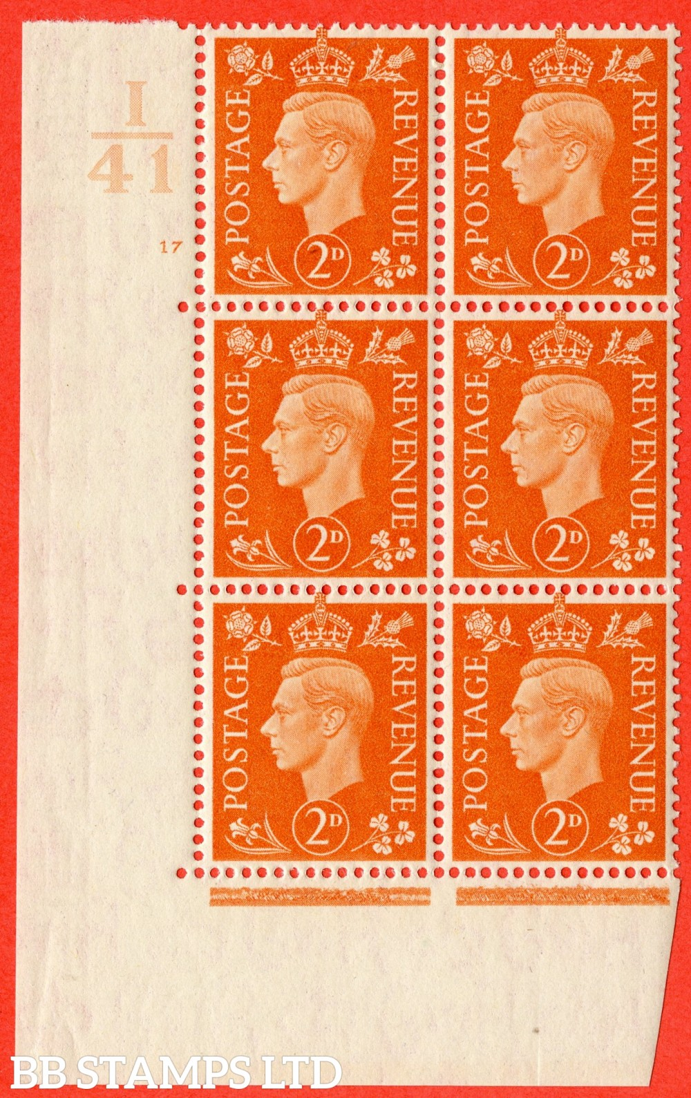 "SG. 465. Q10. 2d Orange. A superb UNMOUNTED MINT"" Control I41 cylinder 17 no dot "" control block of 6 with perf type 5 E/I."