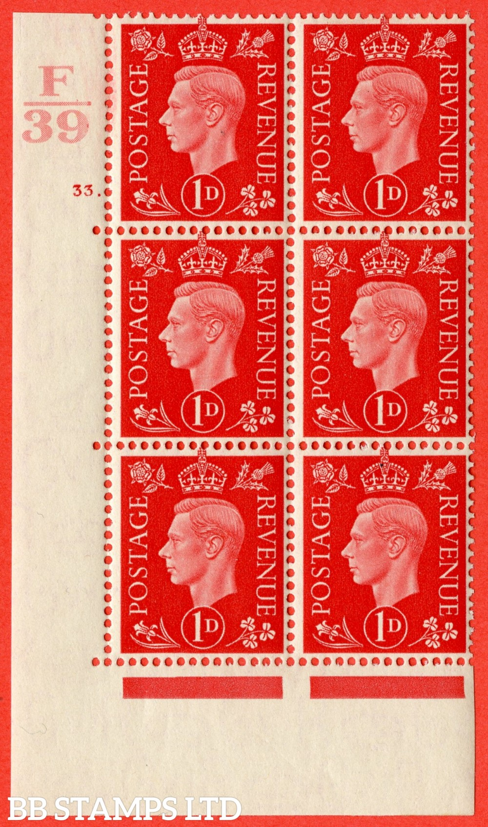 "SG. 463. Q4. 1d Scarlet. A fine lightly mounted mint "" Control F39 cylinder 33 dot "" block of 6 with perf type 5 E/I."