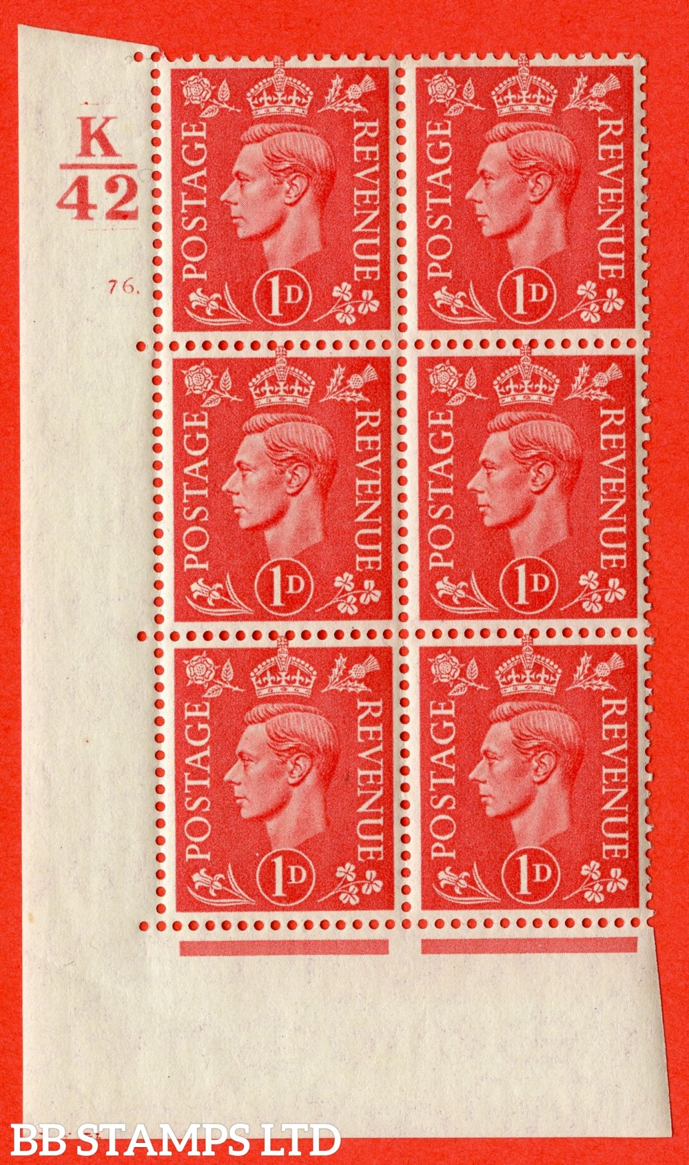 "SG. 486. Q5. 1d Pale scarlet. Asuperb UNMOUNTED MINT "" Control K42  cylinder 76 dot "" control block of 6 with perf type 5 E/I."
