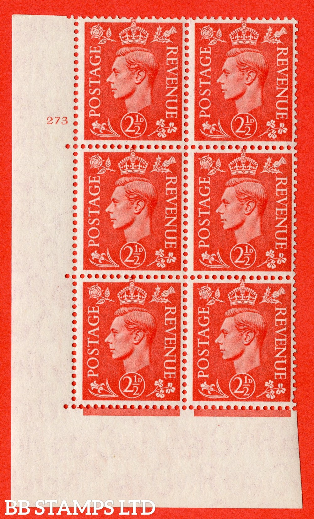 "SG. 507. Q15. 2½d Pale Scarlet. A fine lightly mounted mint "" No Control cylinder 273 no dot "" control block of 6 with perf type 5 E/I."