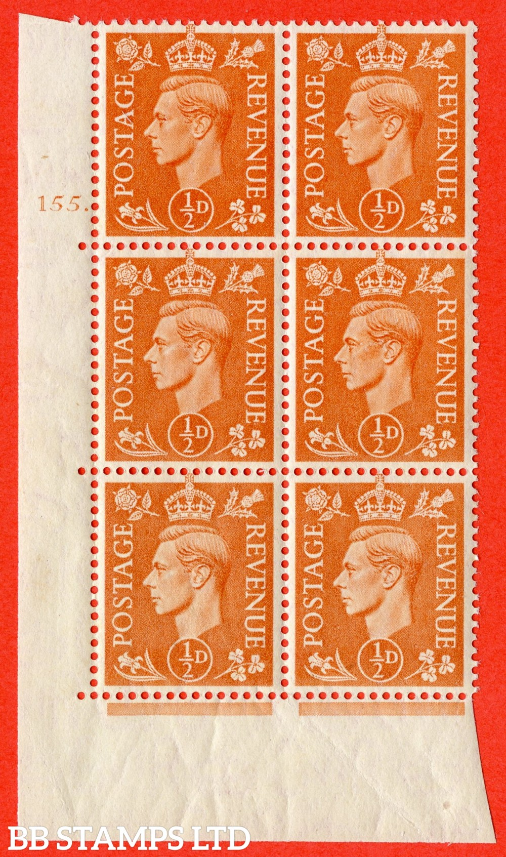 """SG. 503. Q3. ½d Pale Orange. A superb UNMOUNTED MINT """" No Control cylinder 155 dot """" control block of 6 with perf type 5 E/I."""