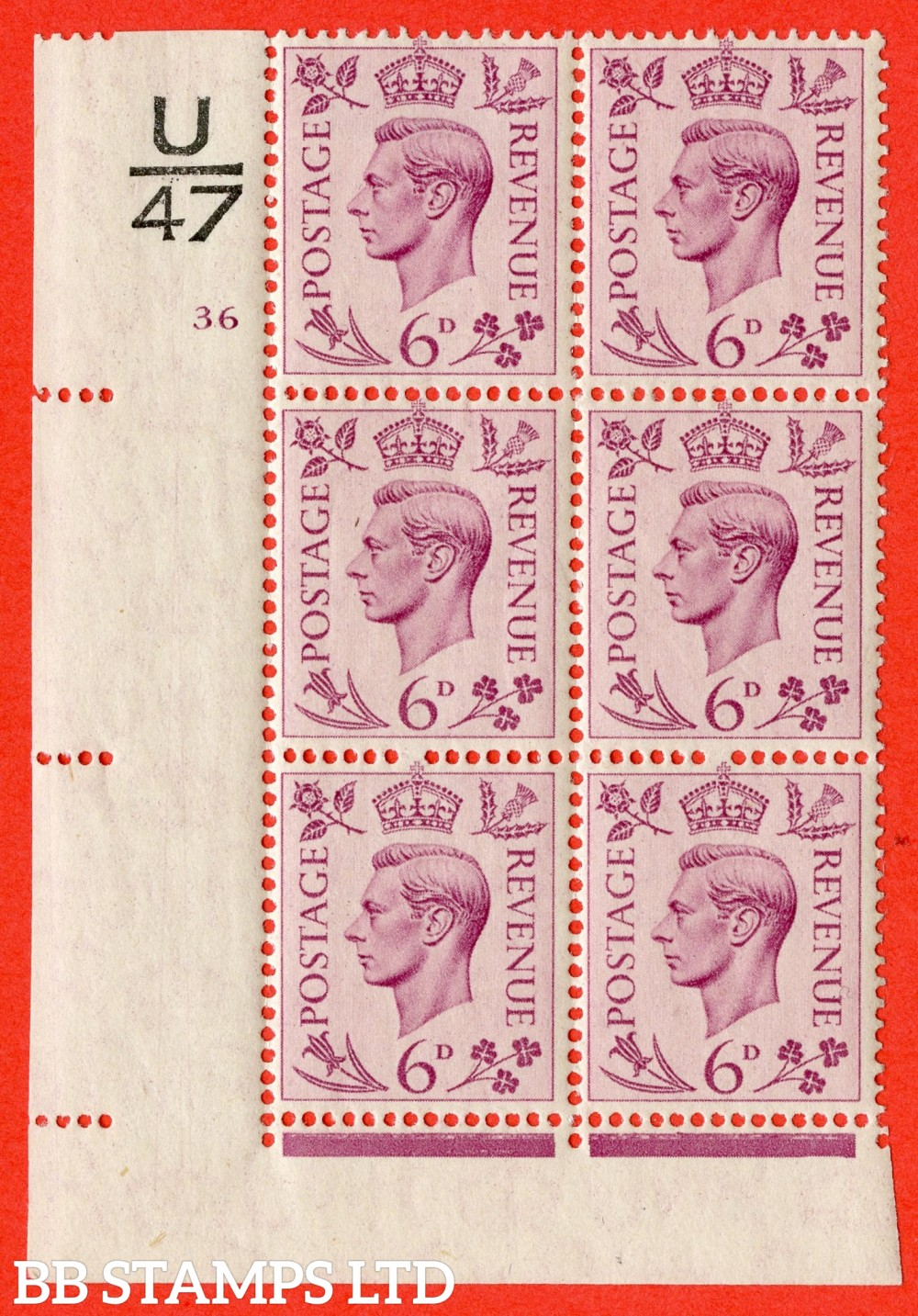 """SG. 470. Q22. 6d Purple. A fine lightly mounted mint """" Control U47 cylinder 36 no dot """" control block of 6 with perf type 2 E/I"""