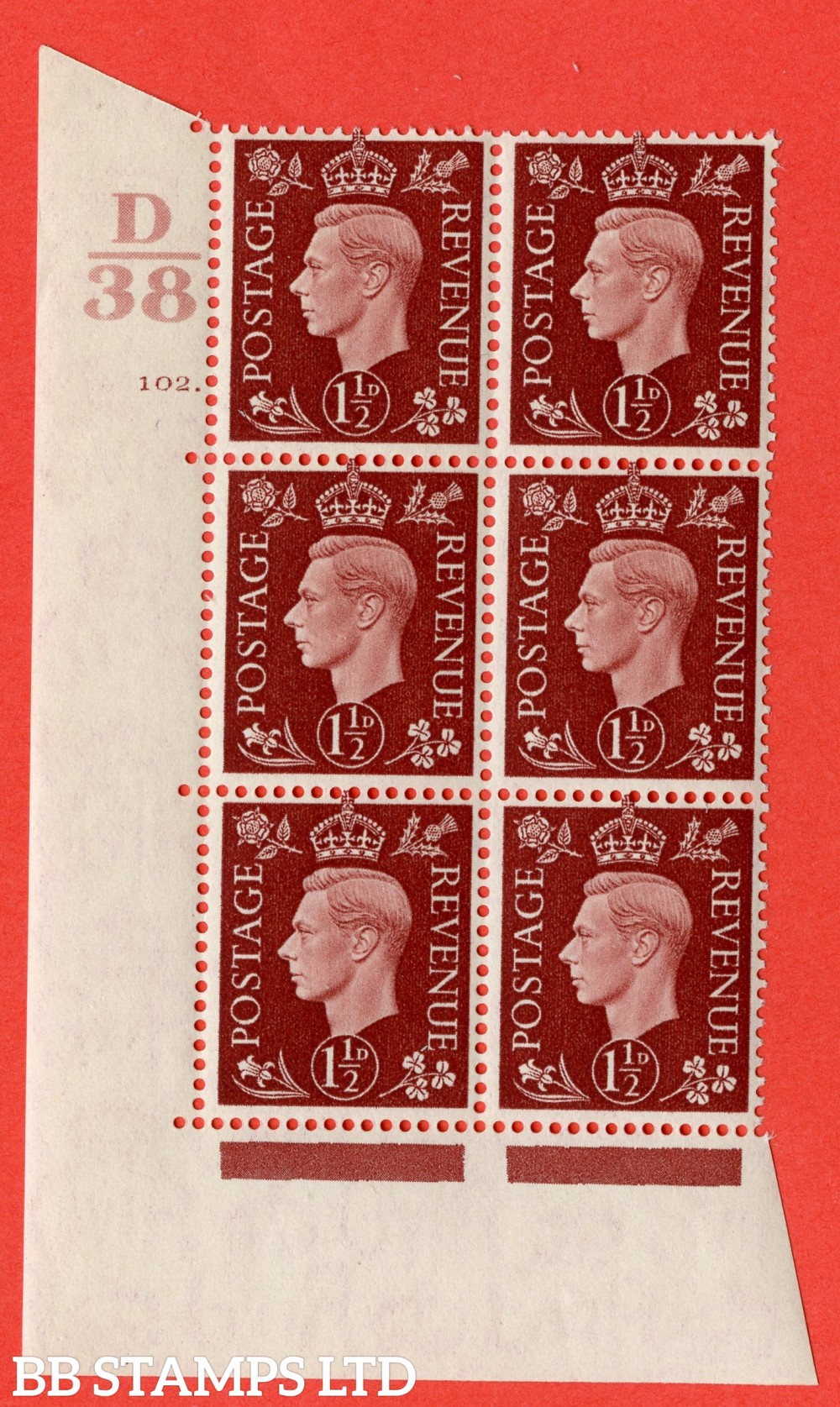 """SG. 464. Q7. 1½d Red-Brown. A superb UNMOUNTED MINT """" Control D38 cylinder 102 dot """" block of 6 with perf type 5 E/I."""
