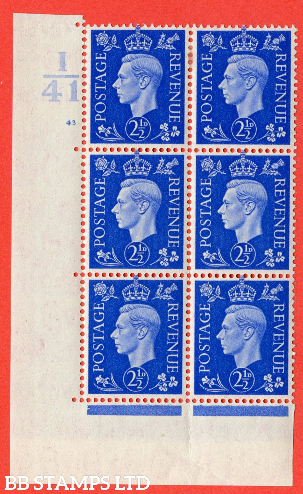 "SG. 489. Q14. 2½d Light ultramarine. A fine lightly mounted mint "" Control I41 cylinder 43 no dot "" control block of 6 with perf type 5 E/I."