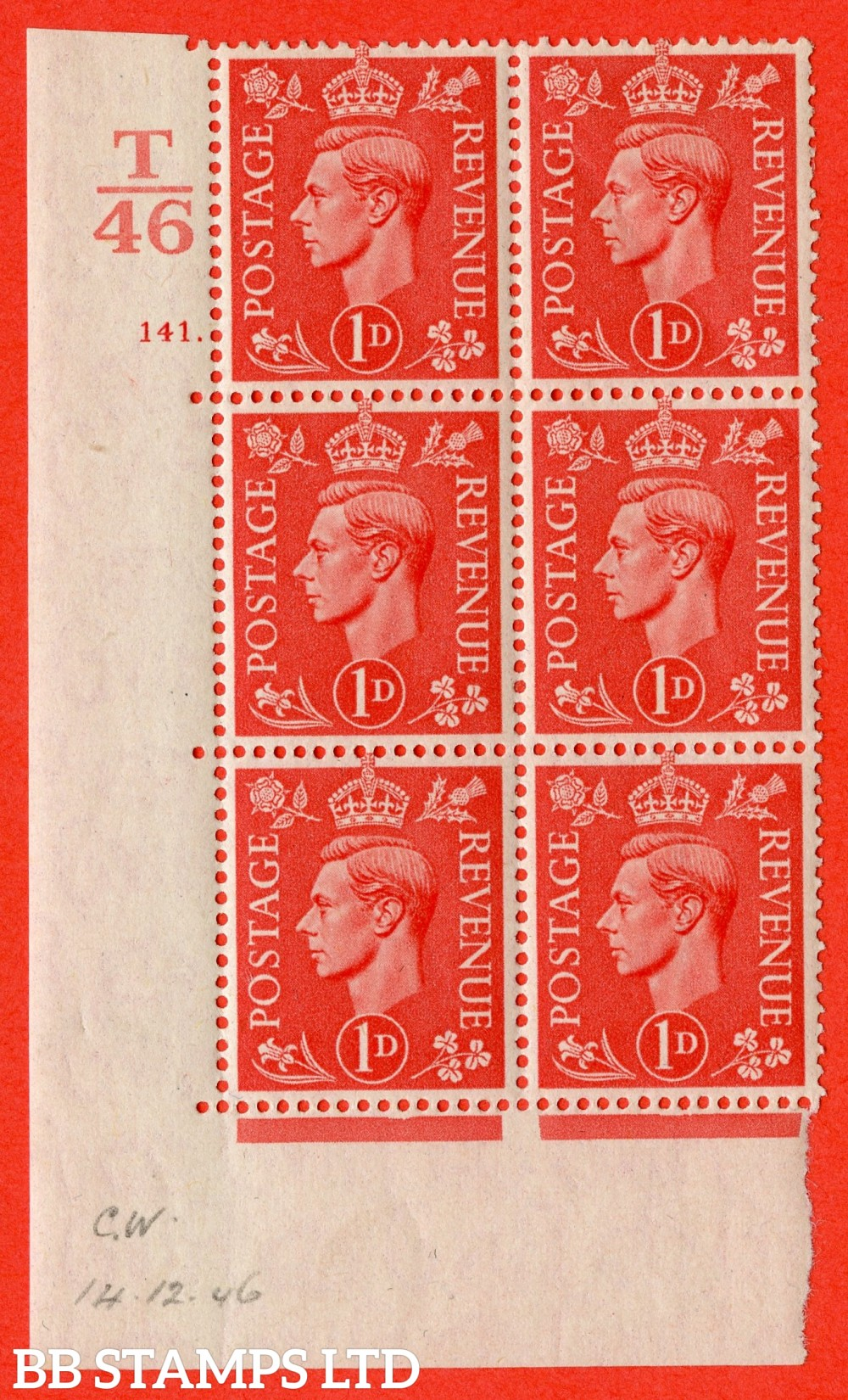 """SG. 486. Q5. 1d Pale scarlet. A fine lightly mounted mint """" Control T46  cylinder 141 dot """" control block of 6 with perf type 5 E/I."""