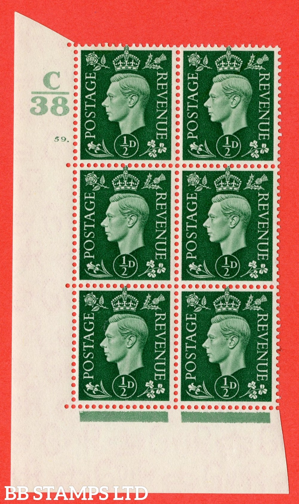 "SG. 462. Q1. ½d Green. A superb UNMOUNTED MINT "" Control C38 cylinder 59 dot "" block of 6 with perf type 5 E/I with marginal rule."