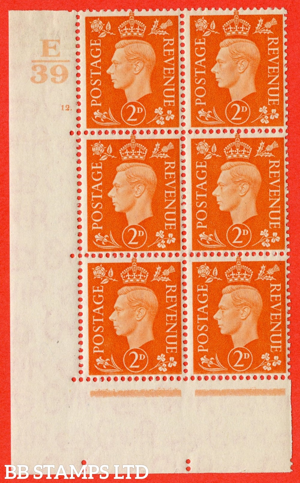 "SG. 465. Q10. 2d Orange. A superb UNMOUNTED MINT "" Control E39 cylinder 12 dot "" control block of 6 with perf type 5 E/I."