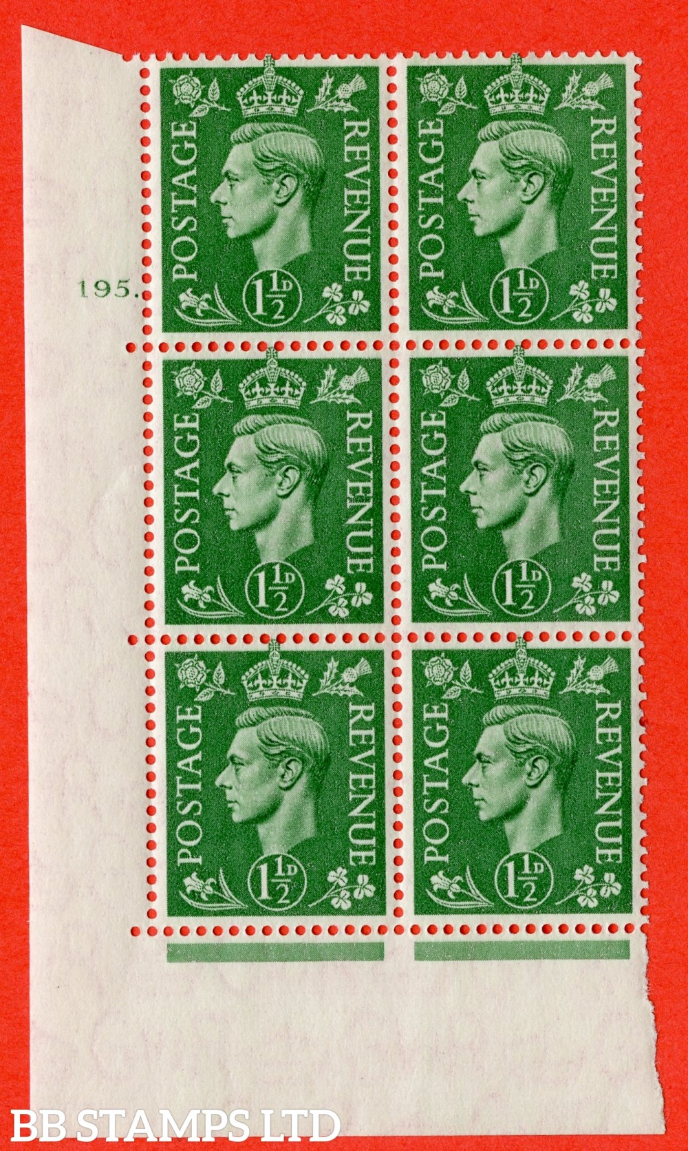 "SG. 505. Q9. 1½d Pale Green. A superb UNMOUNTED MINT "" No Control cylinder 195 dot "" control block of 6 with perf type 5 E/I"