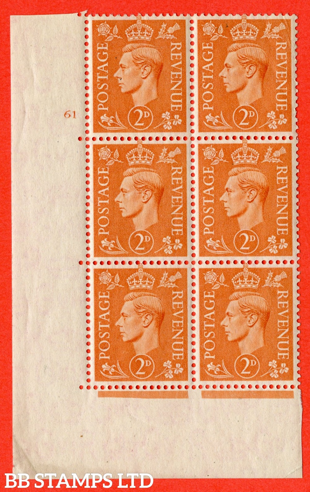 "SG. 488. Q11. 2d Pale Orange. A superb UNMOUNTED MINT "" No Control cylinder 61 no dot "" control block of 6 with perf type 5 E/I"