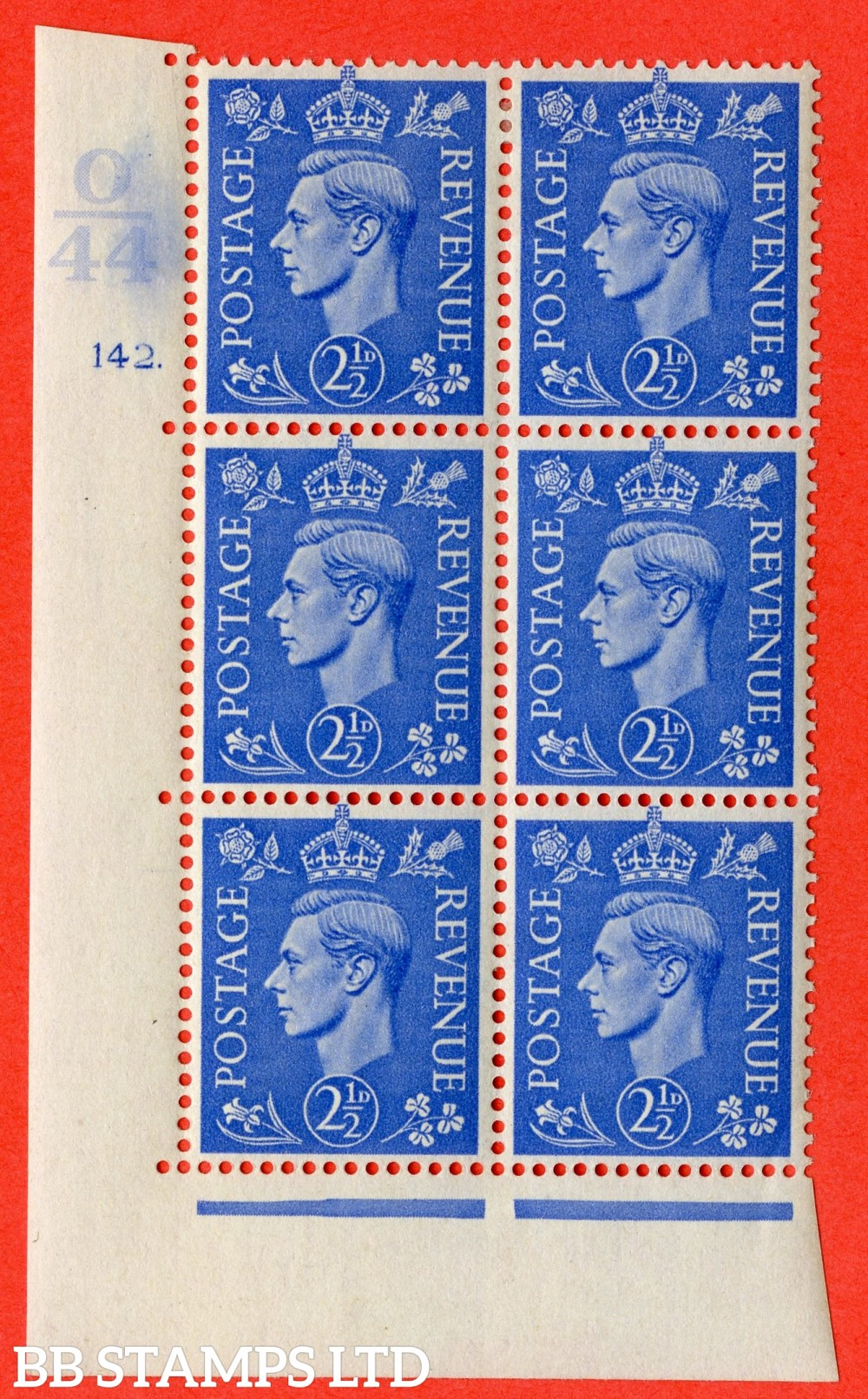 "SG. 489. Q14. 2½d Light ultramarine. A fine mounted mint "" Control O44 cylinder 142 dot "" control block of 6 with perf type 5 E/I."