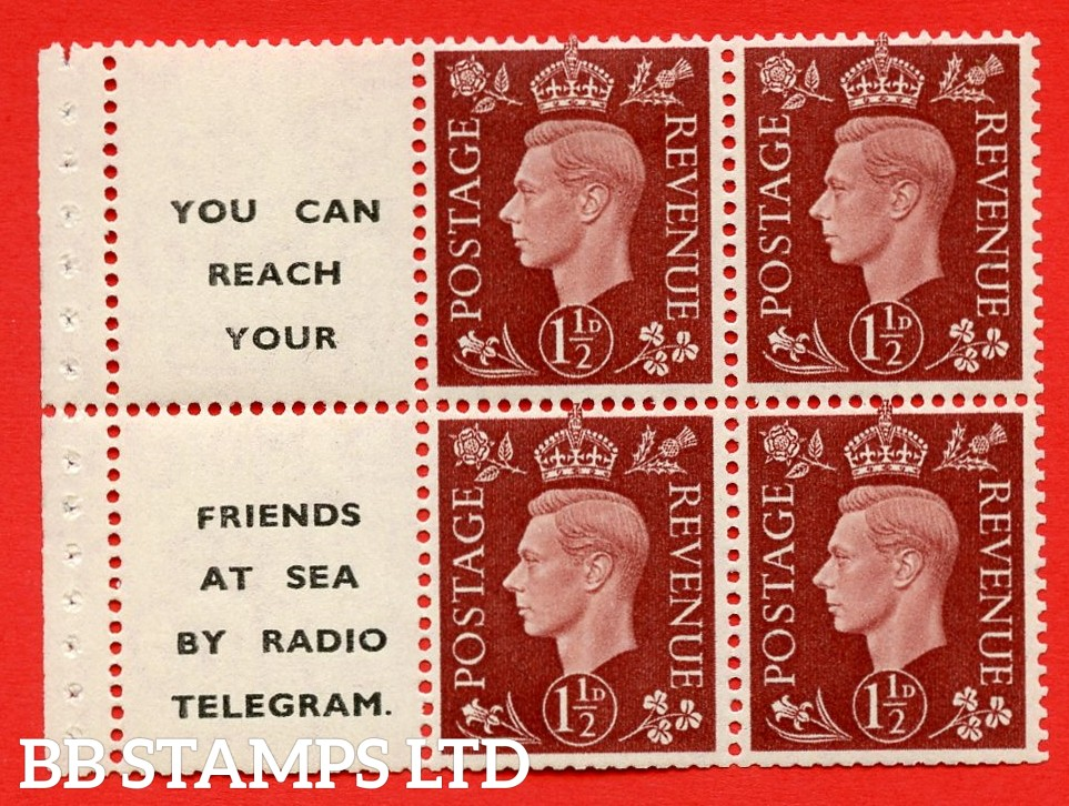 """QB23 Perf Type P (12) 1½d Red-Brown x 6 Pane, MOUNTED MINT.   ( SG. 464b ) Perf type P. """" You can reach your / friends at sea by Radio Telegram  """". Trimmed Perfs."""