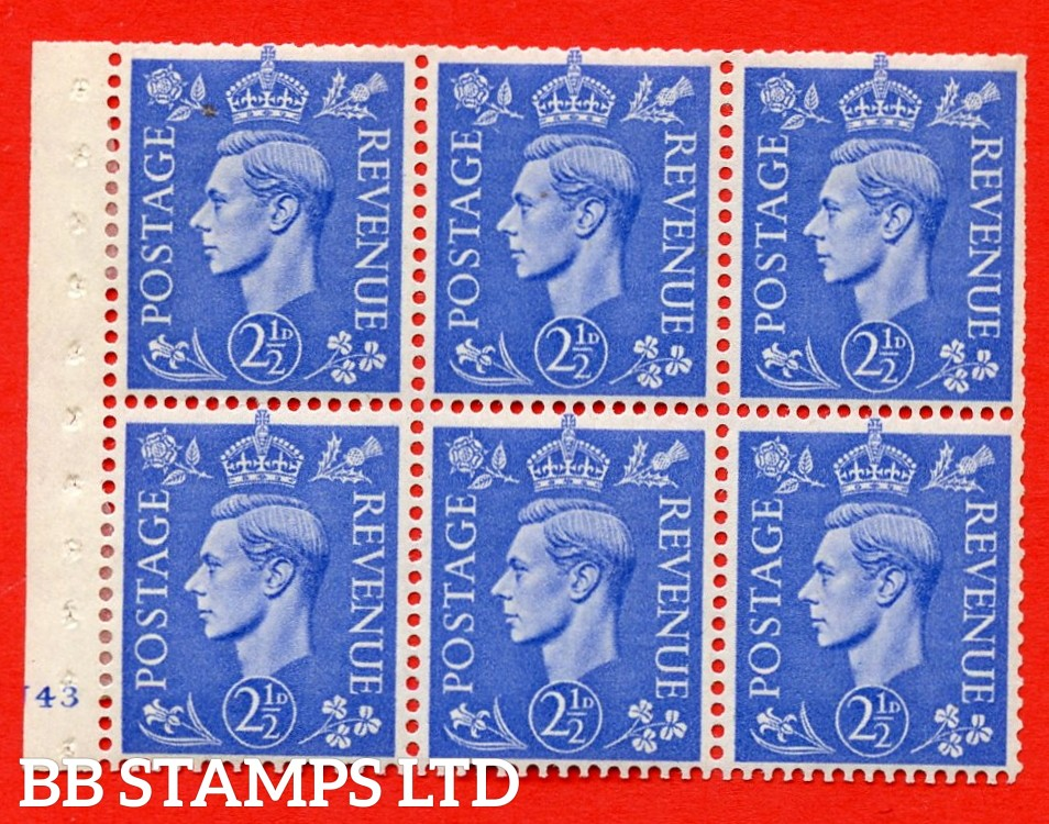 """SG. 489f. QB33. 2½d blue. A fine MOUNTED MINT complete Cylinder pane of 6 J43 No dot. Perf type """"B3(I)"""". Trimmed Perfs."""