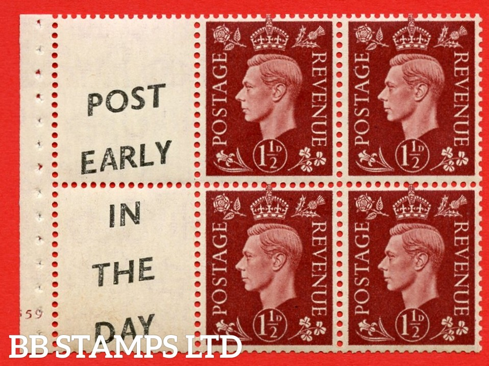 "QB23 Perf Type B3(I) (14) 1½d Red-Brown x 6 Pane, MOUNTED MINT. Cylinder Pane G59 no dot  ( SG. 464b ) Perf type B3(I). "" Post Early /In The Day.  "". Good Perfs."