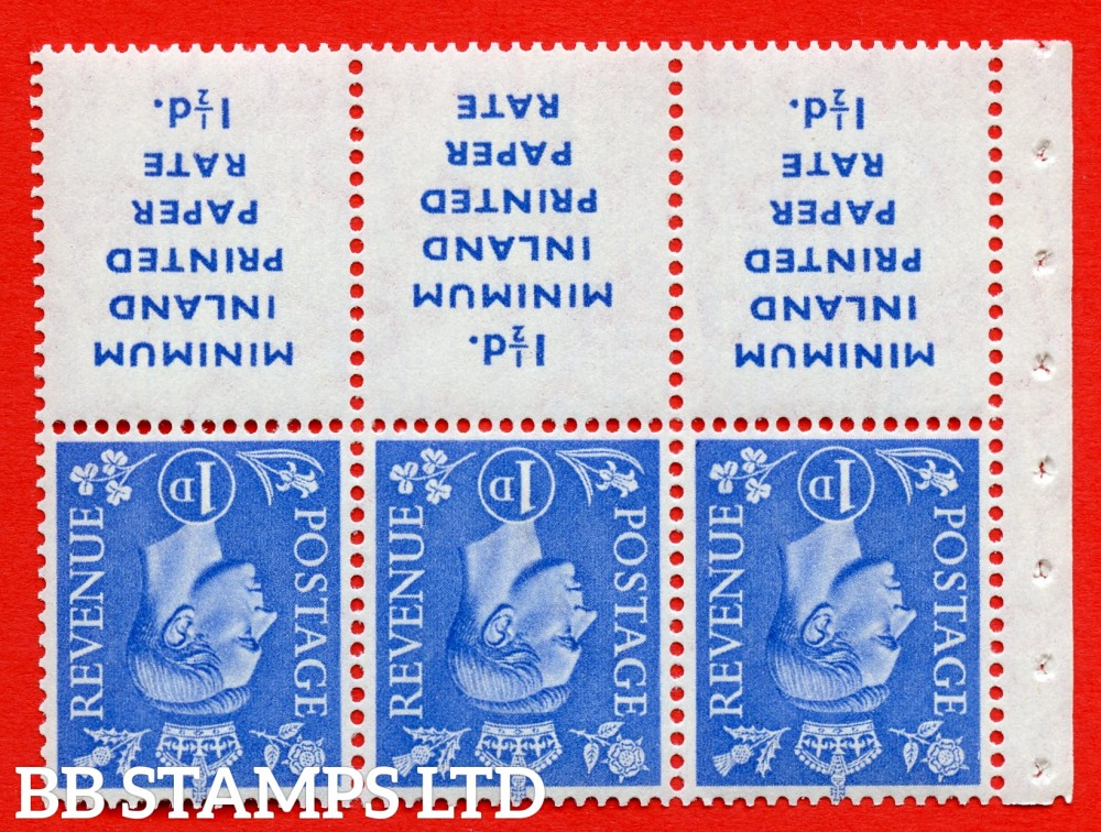"""SG. 504dw. QB18a. 1d ultramarine. A fine UNMOUNTED MINT example with """" MINIMUM INLAND PRINTED PAPER RATE """" 17 mm high. Perf type """" Iet """". Good Perf."""