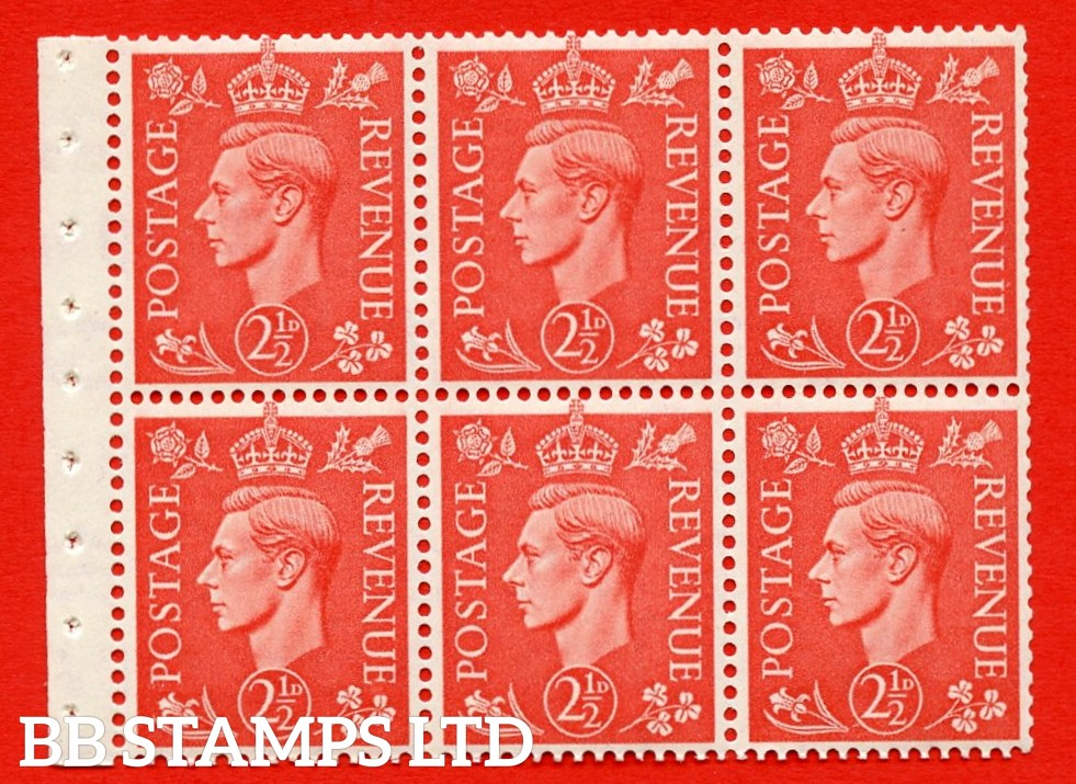 """SG. 507 c. QB34. 2½d pale scarlet. A fine UNMOUNTED MINT Booklet pane of 6. Perf type """" I """". Good Perfs."""