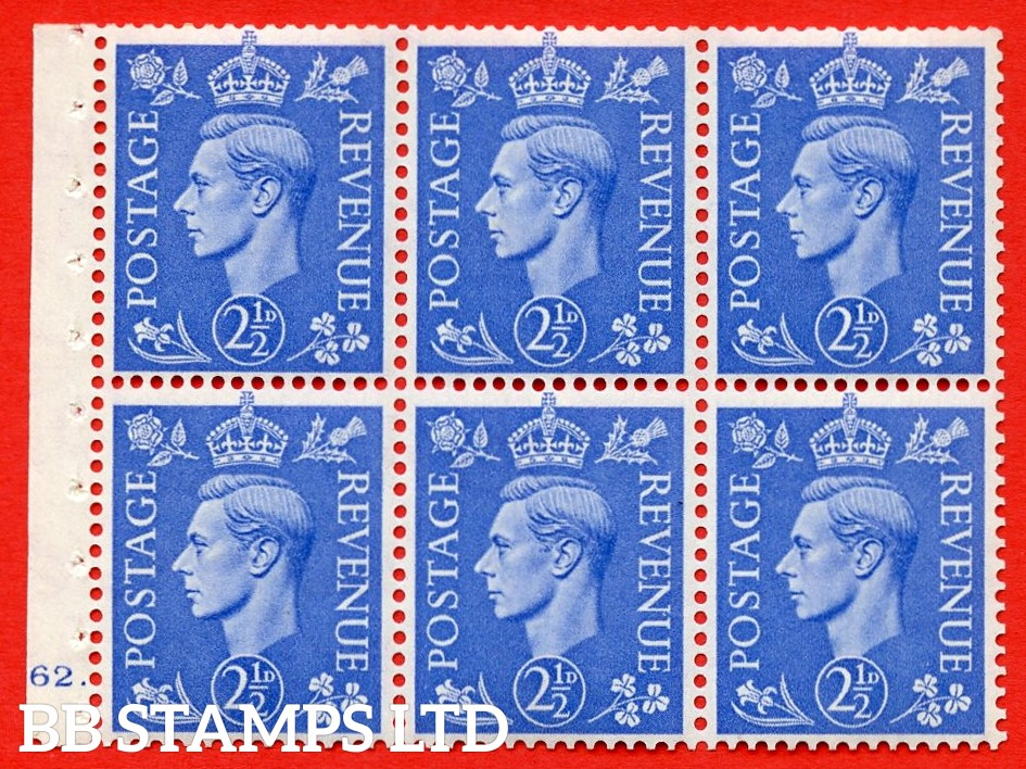 """SG. 489f. QB33. 2½d blue. A fine UNMOUNTED MINT complete Cylinder pane of 6 J62 dot. Perf type """"B6(IE)"""". Good Perfs."""