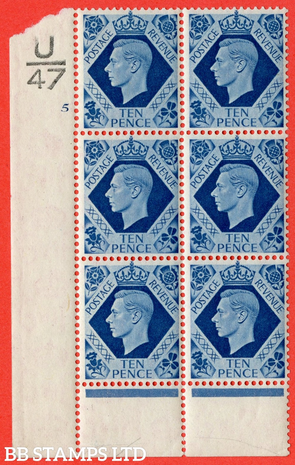 "SG. 474. Q26. 10d Turquoise-Blue. A fine lightly mounted mint "" Control U47 cylinder 5 no dot "" control block of 6 with perf type 6 I/P."