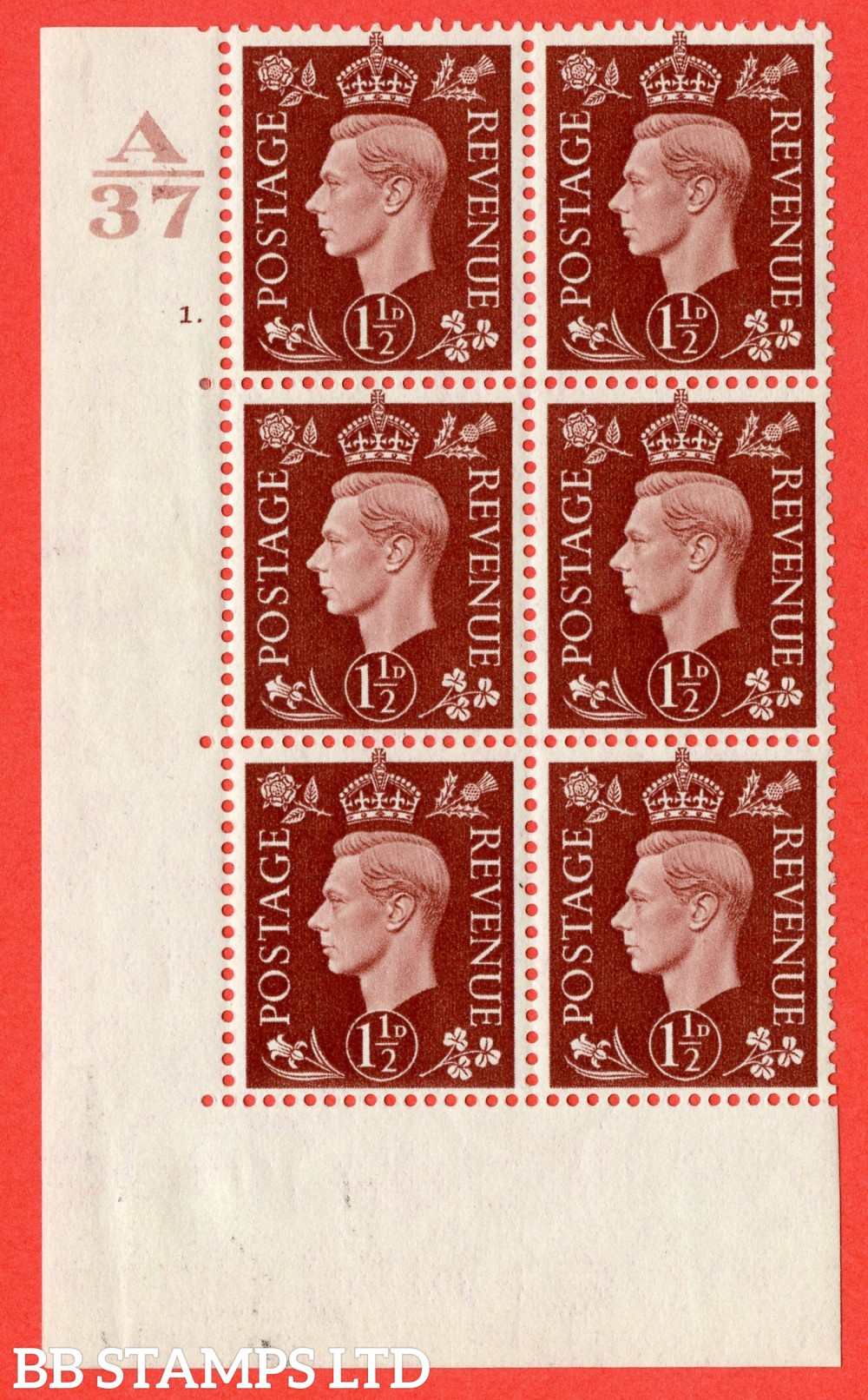 "SG. 464. Q7. 1½d Red-Brown. A fine lightly mounted mint "" Control A37 cylinder 1 dot "" block of 6 with perf type 5 E/I."