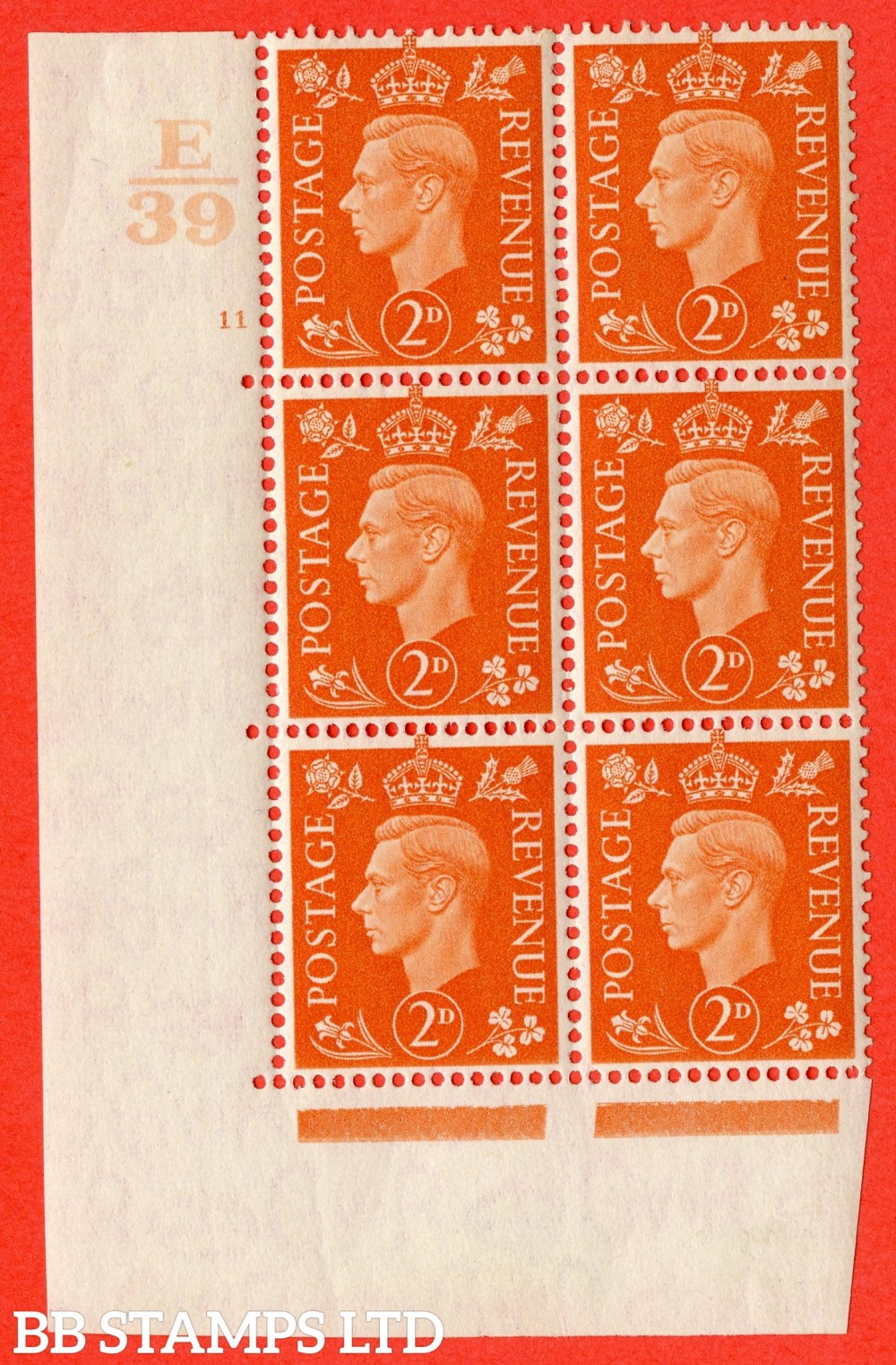 "SG. 465. Q10. 2d Orange. A fine lightly mounted mint "" Control E39 cylinder 11 no dot "" control block of 6 with perf type 5 E/I."