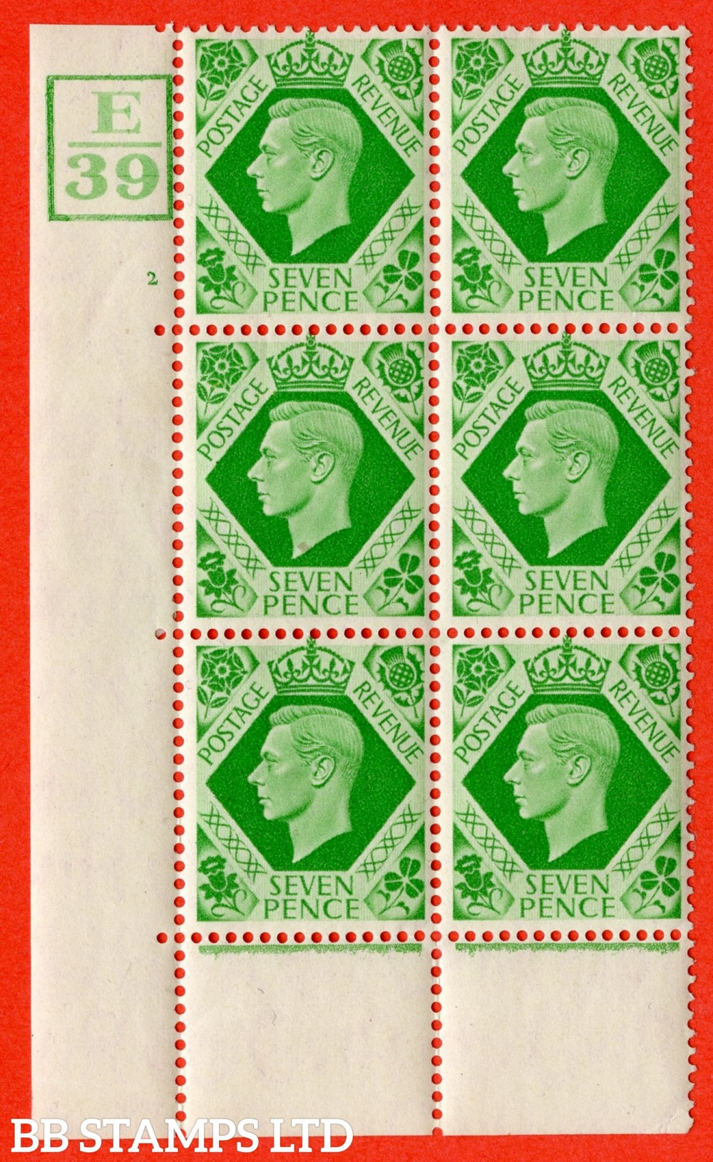 """SG. 471. Q23. 7d Emerald-Green. A fine lightly mounted mint """" Control E39. Box. Cylinder 2 no dot """" control block of 6 with perf type 6B E/P."""