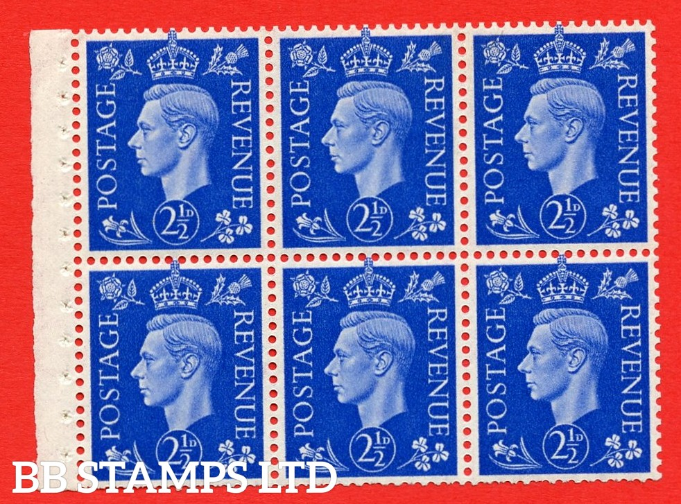 SG. 466 c. QB32. 2½d blue. A fine MOUNTED MINT booklet pane of 6. Perf type I. Trimmed perfs.