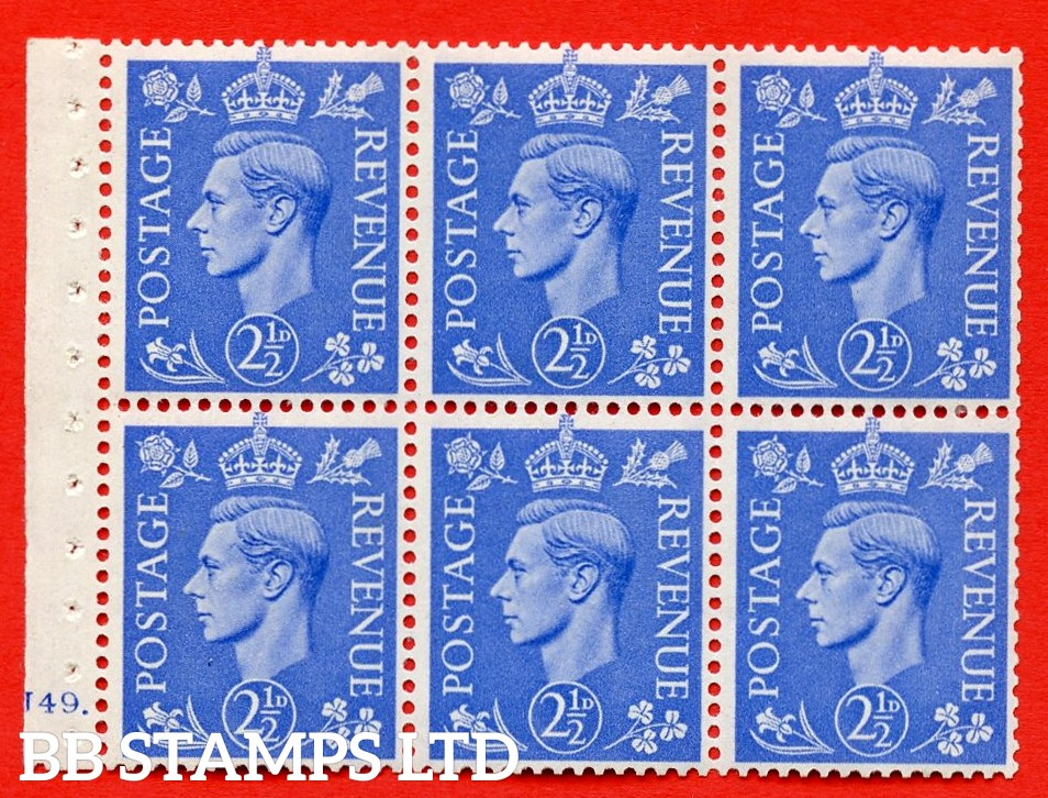 """SG. 489f. QB33. 2½d blue. A fine UNMOUNTED MINT complete Cylinder pane of 6 J49 dot. Perf type """"B6(IE)"""". Trimmed Perfs."""