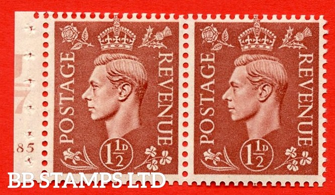 """SG. 487b. Q25. 1½d pale red brown. MOUNTED MINT. Complet cylinder pane of 2 185 No Dot. Control U47 Perf Type """"E"""". Good Perfs."""