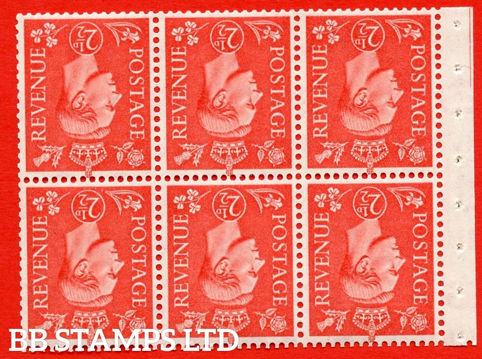 """SG. 507cw. QB34a. 2½d pale scarlet. A fine UNMOUNTED MINT Booklet pane of 6. Perf type """" Iet """". Good Perfs."""